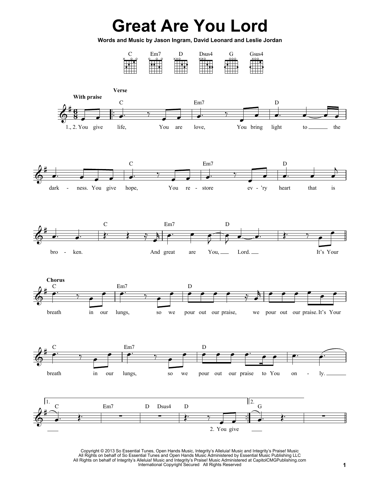 Great Are You Lord Sheet Music