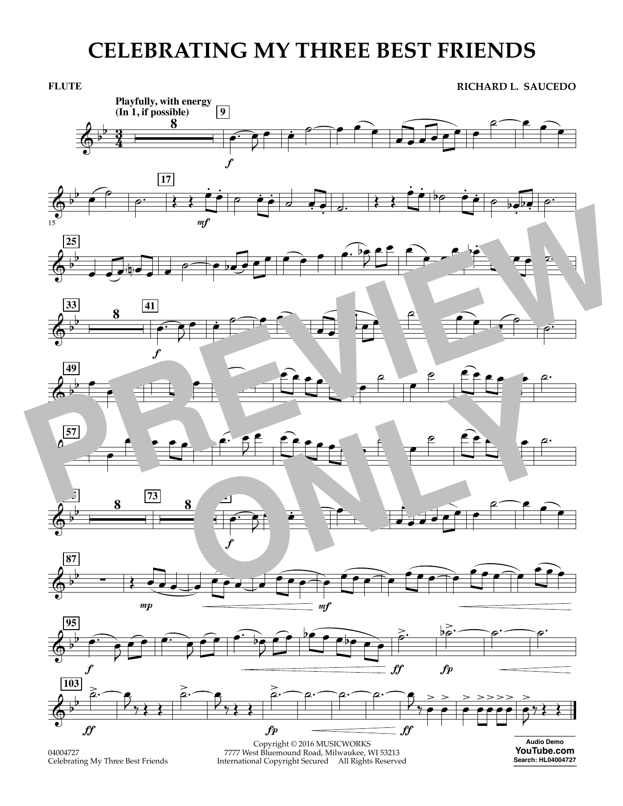 Celebrating My Three Best Friends - Flute (Concert Band)