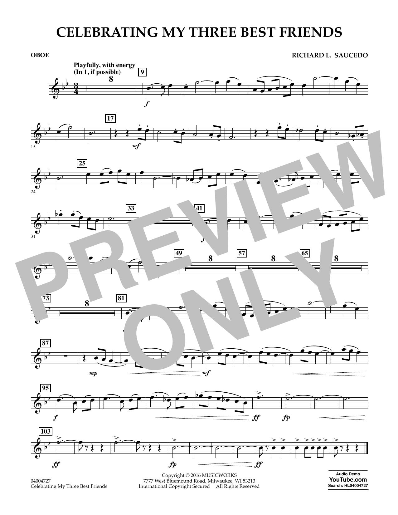 Celebrating My Three Best Friends - Oboe (Concert Band)