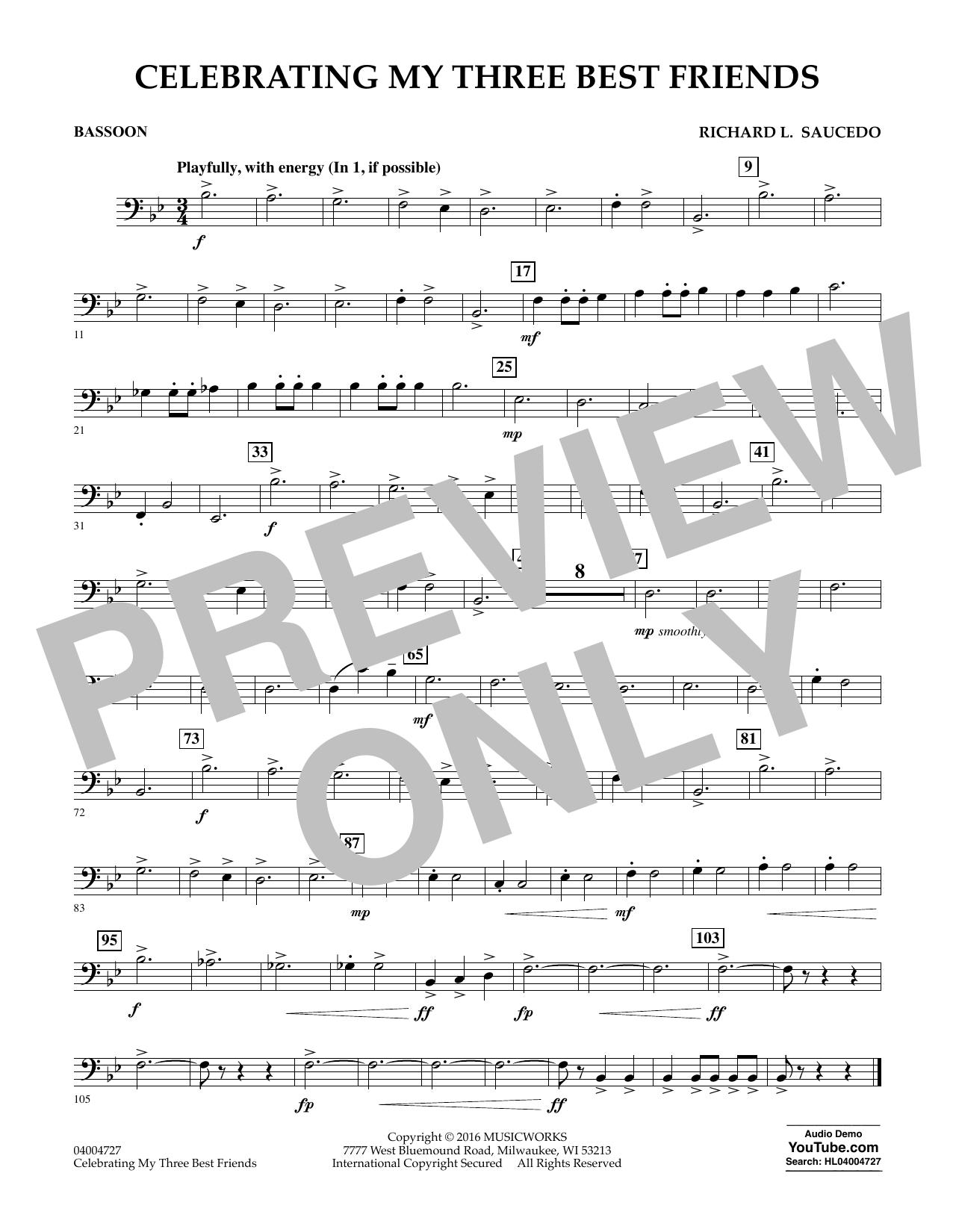 Celebrating My Three Best Friends - Bassoon (Concert Band)