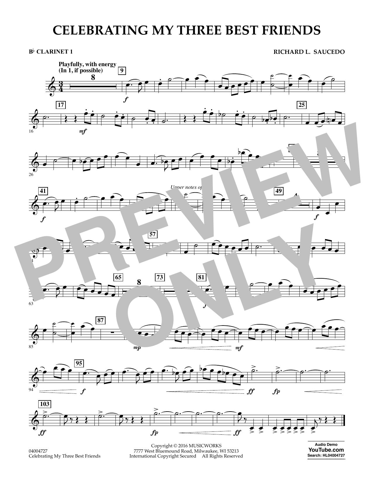Celebrating My Three Best Friends - Bb Clarinet 1 (Concert Band)