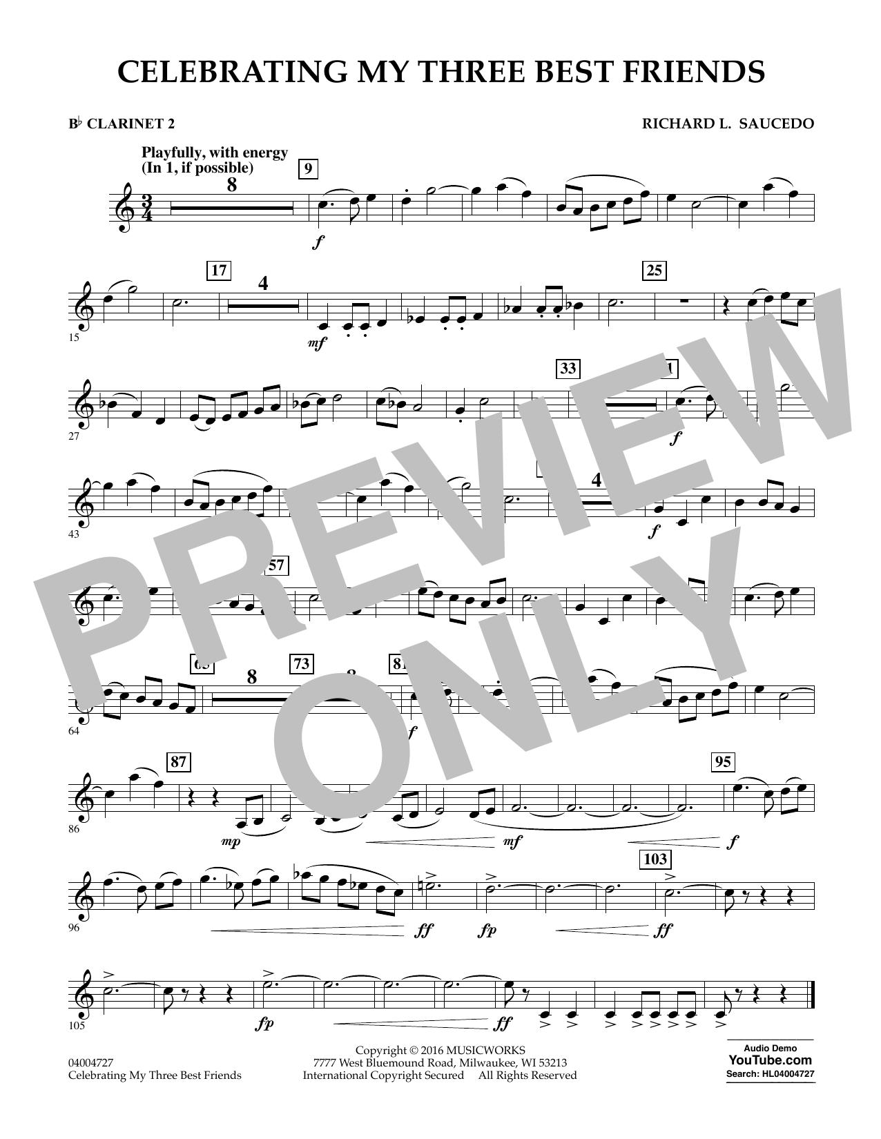 Celebrating My Three Best Friends - Bb Clarinet 2 (Concert Band)