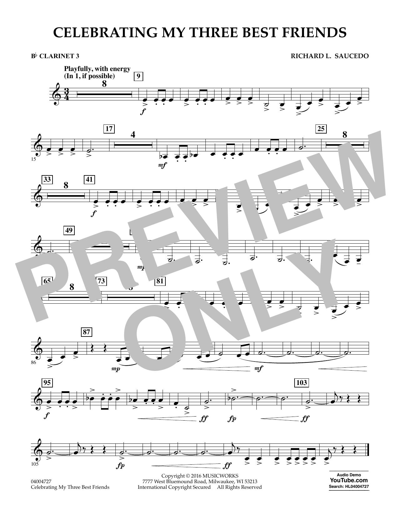 Celebrating My Three Best Friends - Bb Clarinet 3 (Concert Band)