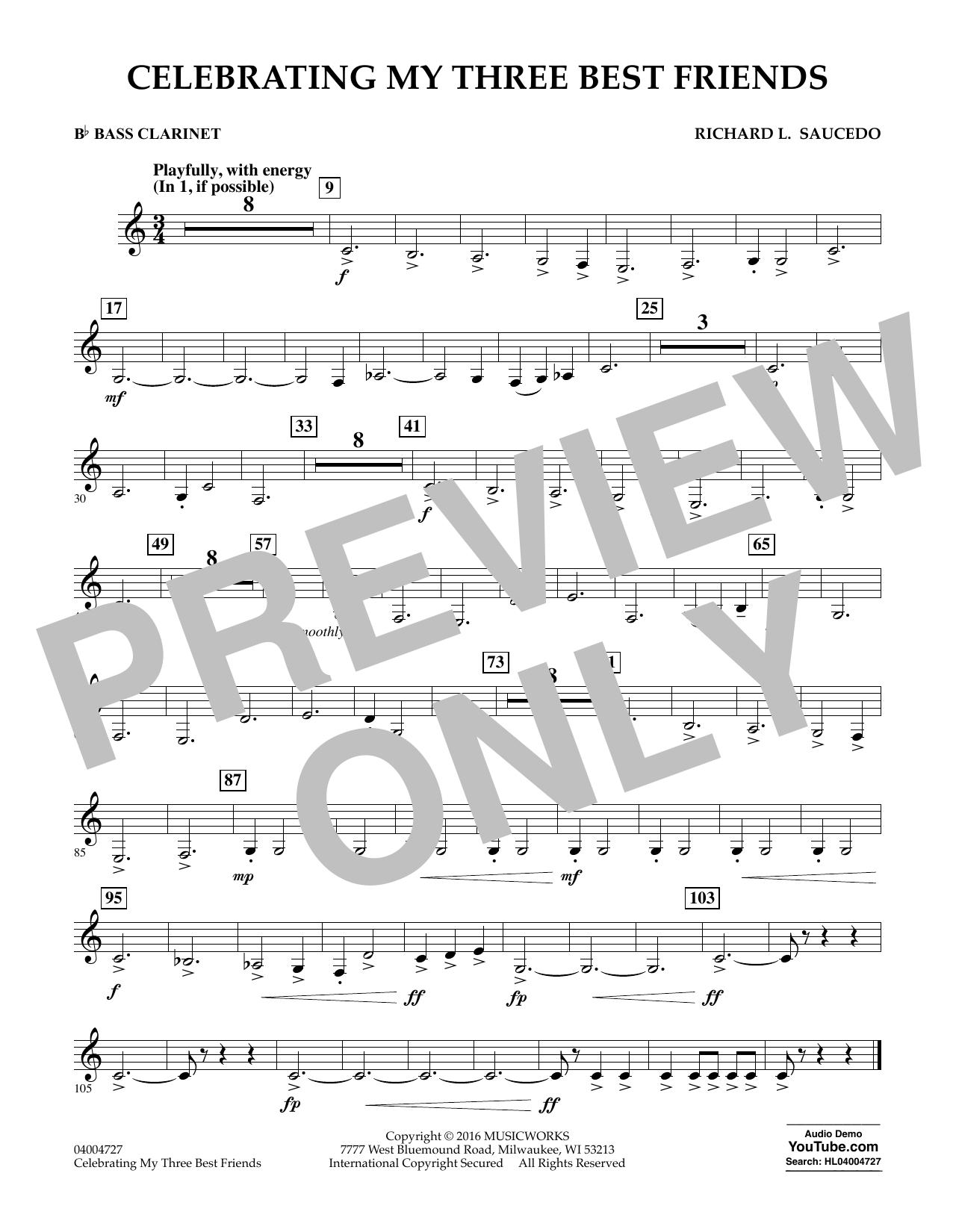 Celebrating My Three Best Friends - Bb Bass Clarinet (Concert Band)