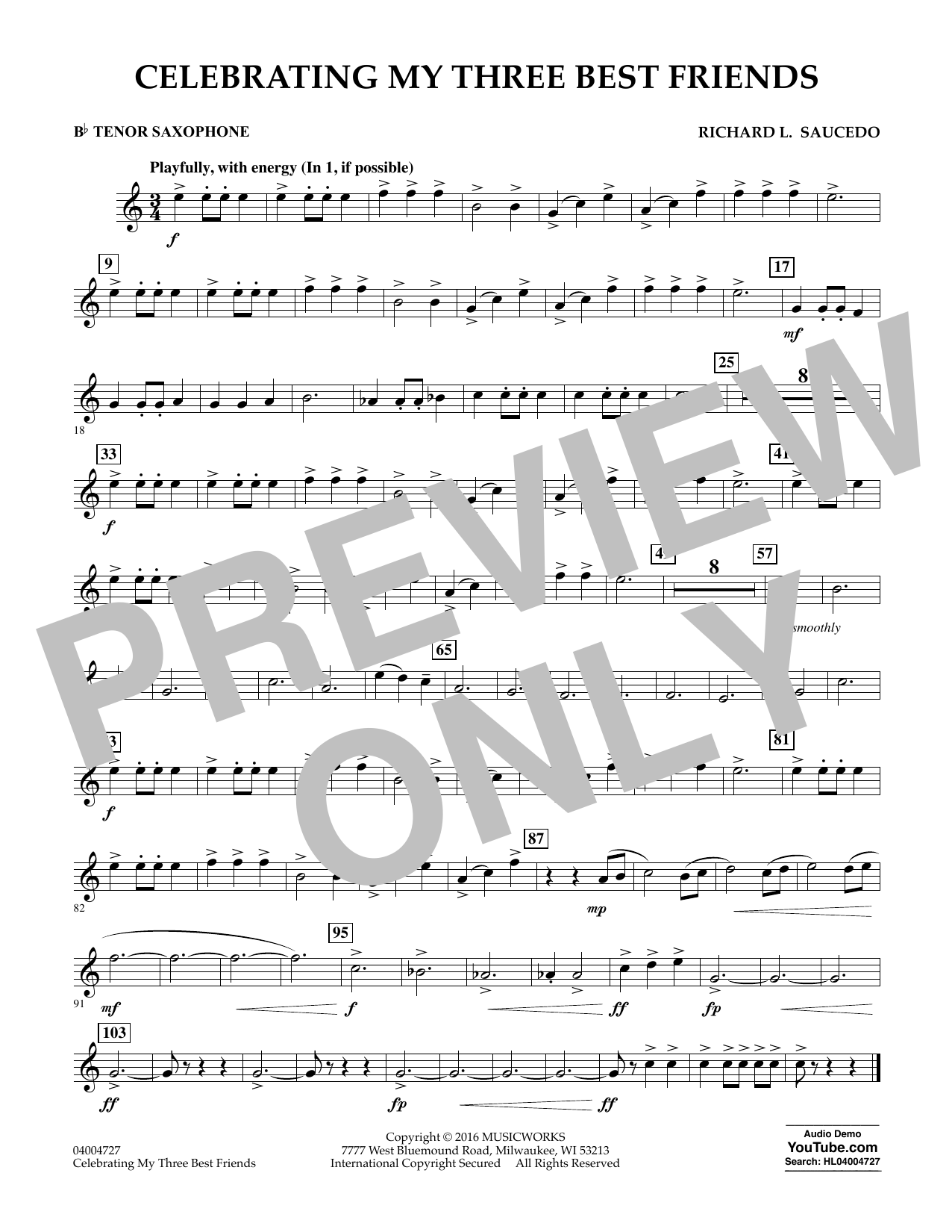 Celebrating My Three Best Friends - Bb Tenor Saxophone (Concert Band)