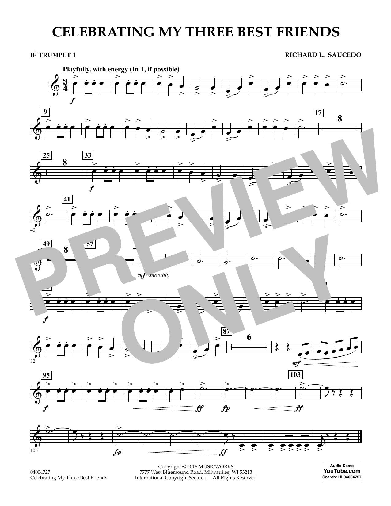 Celebrating My Three Best Friends - Bb Trumpet 1 (Concert Band)