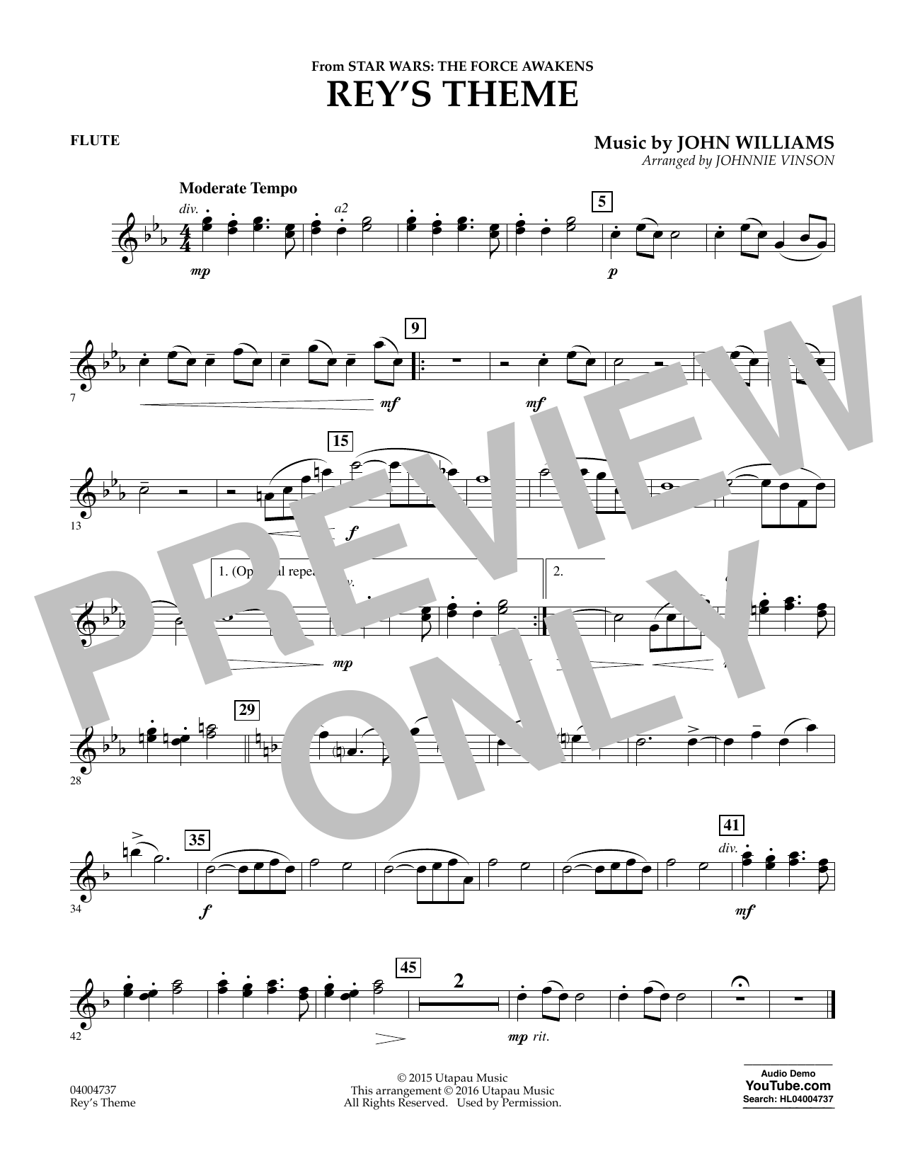 Rey's Theme (from Star Wars: The Force Awakens) - Flute (Concert Band)