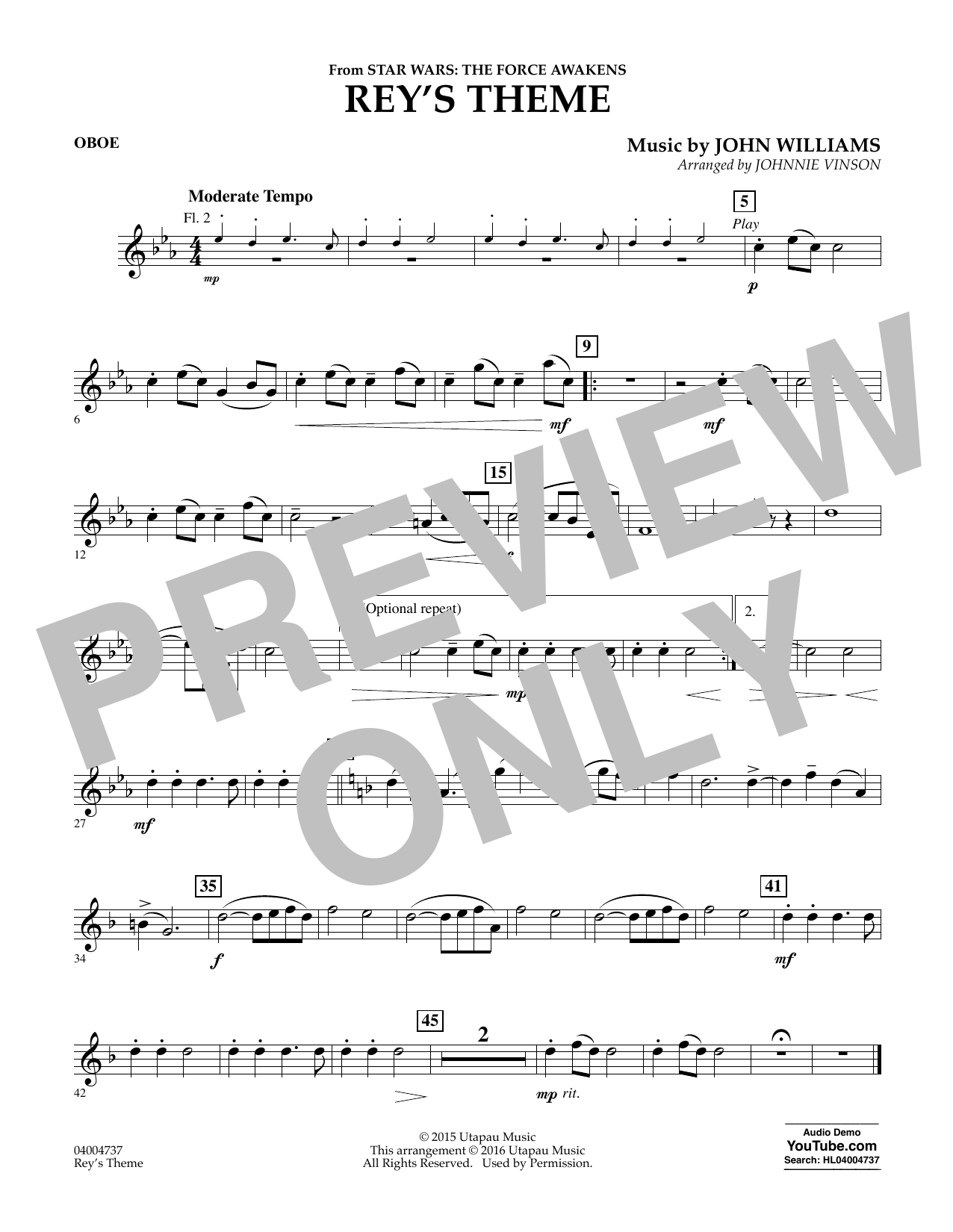 Rey's Theme (from Star Wars: The Force Awakens) - Oboe (Concert Band)