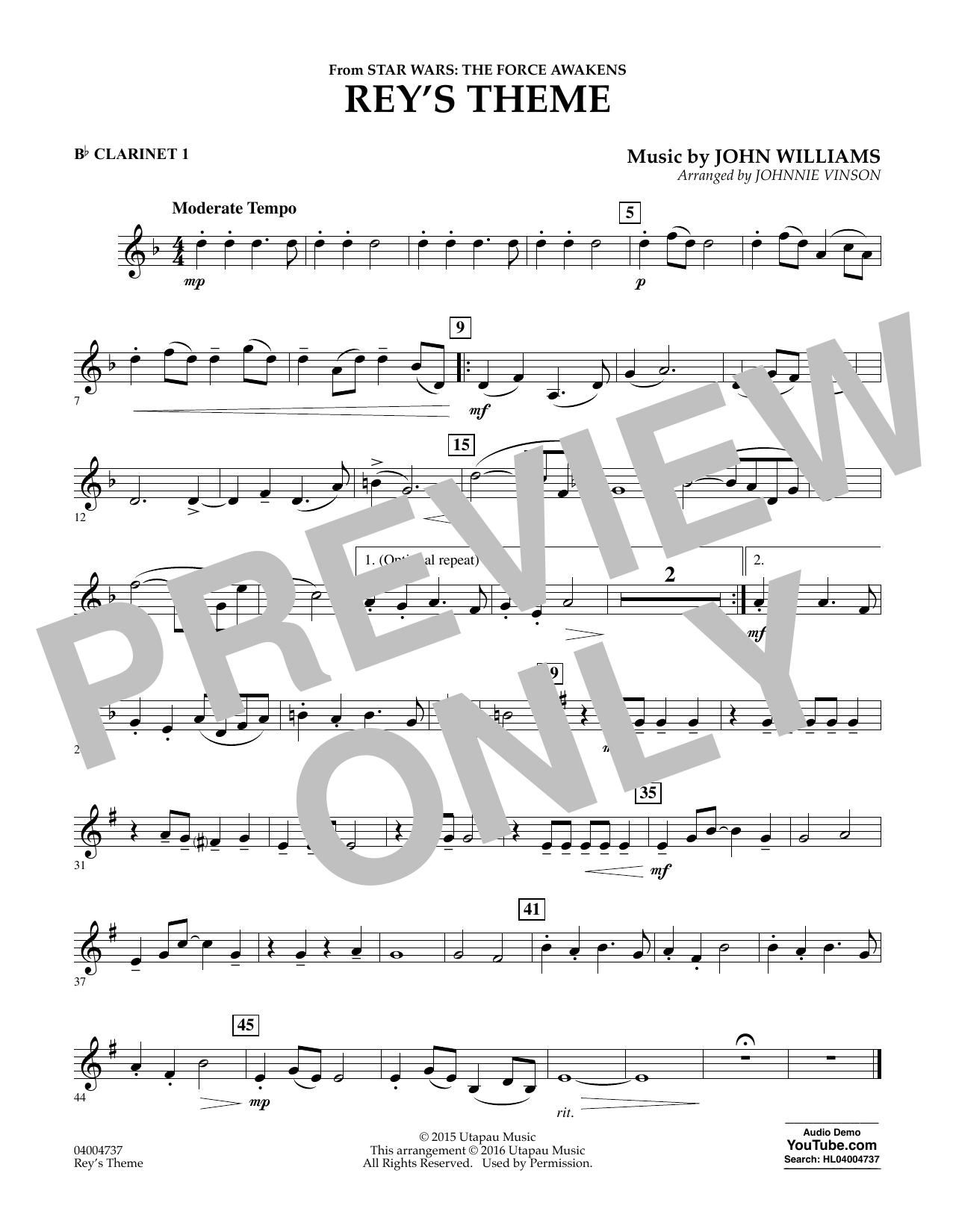 Rey's Theme (from Star Wars: The Force Awakens) - Bb Clarinet 1 (Concert Band)
