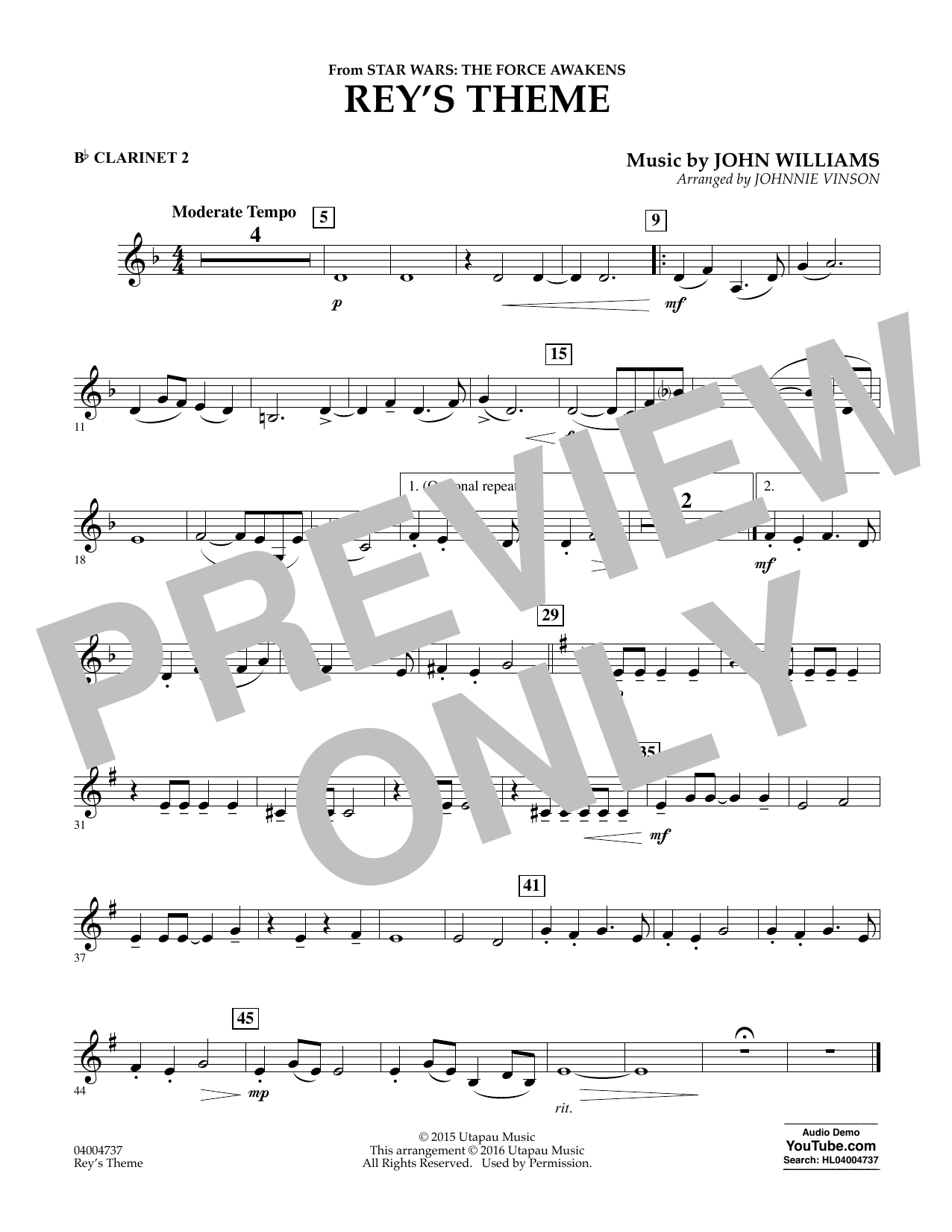Rey's Theme (from Star Wars: The Force Awakens) - Bb Clarinet 2 (Concert Band)