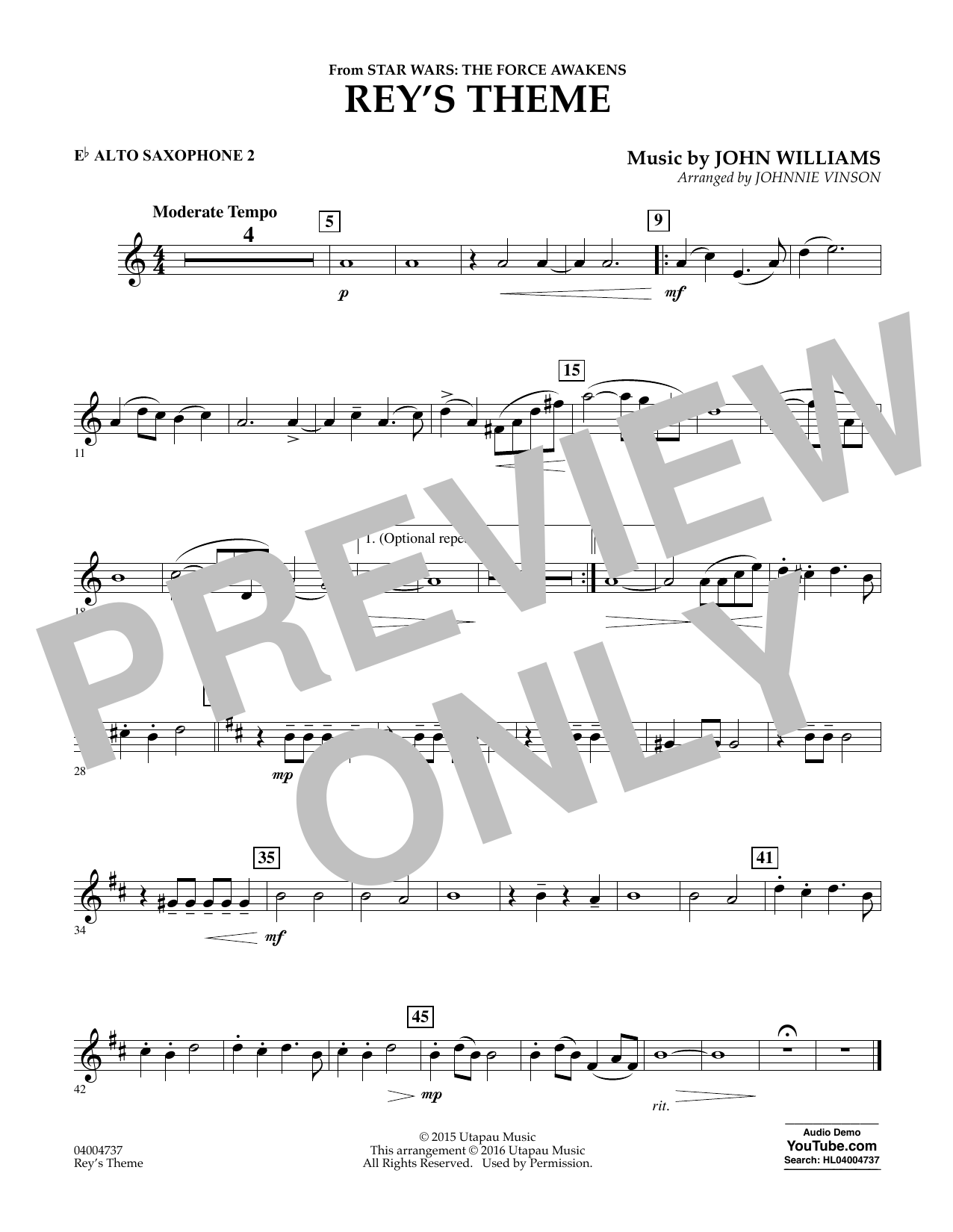 Rey's Theme (from Star Wars: The Force Awakens) - Eb Alto Saxophone 2 (Concert Band)