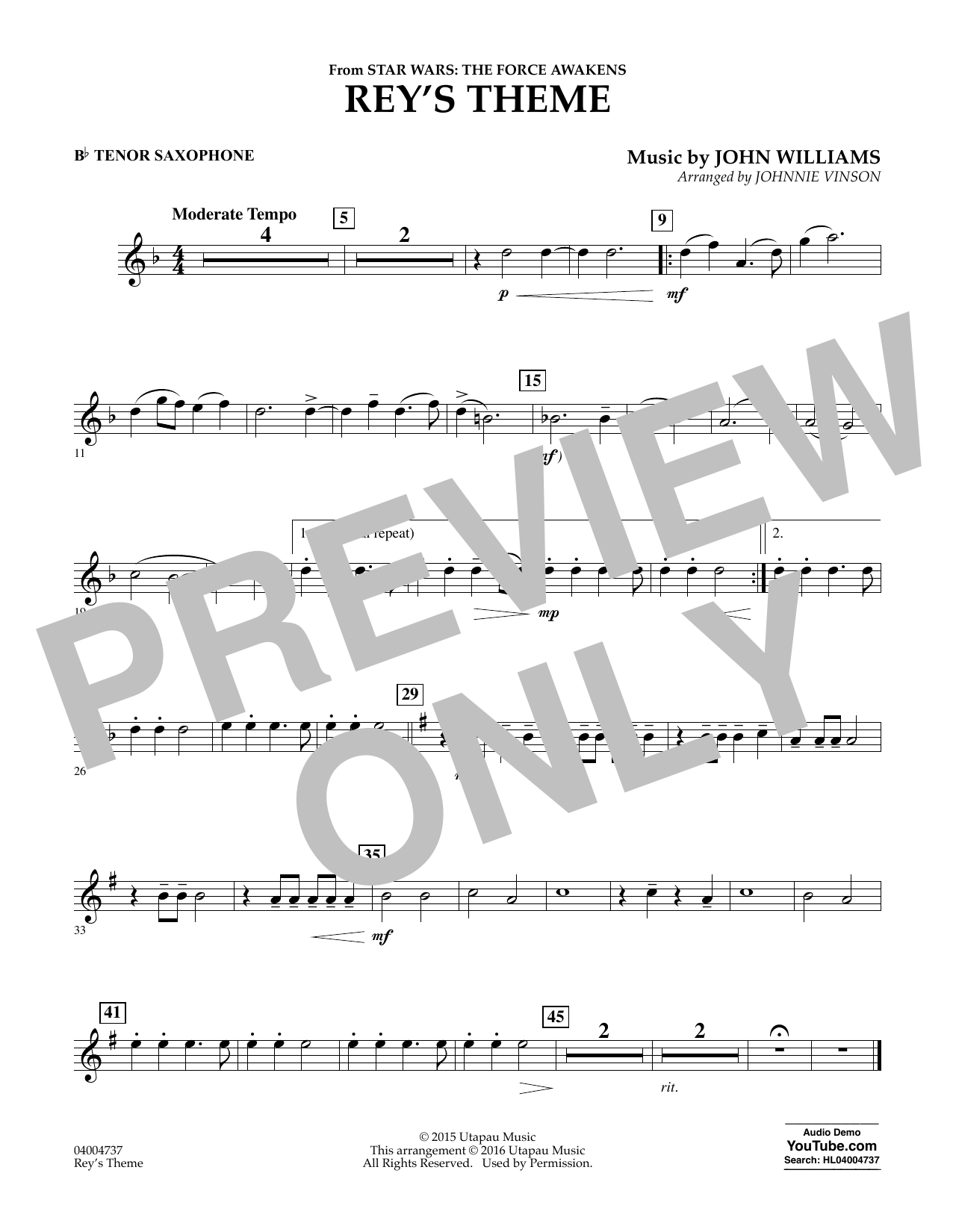 Rey's Theme (from Star Wars: The Force Awakens) - Bb Tenor Saxophone (Concert Band)