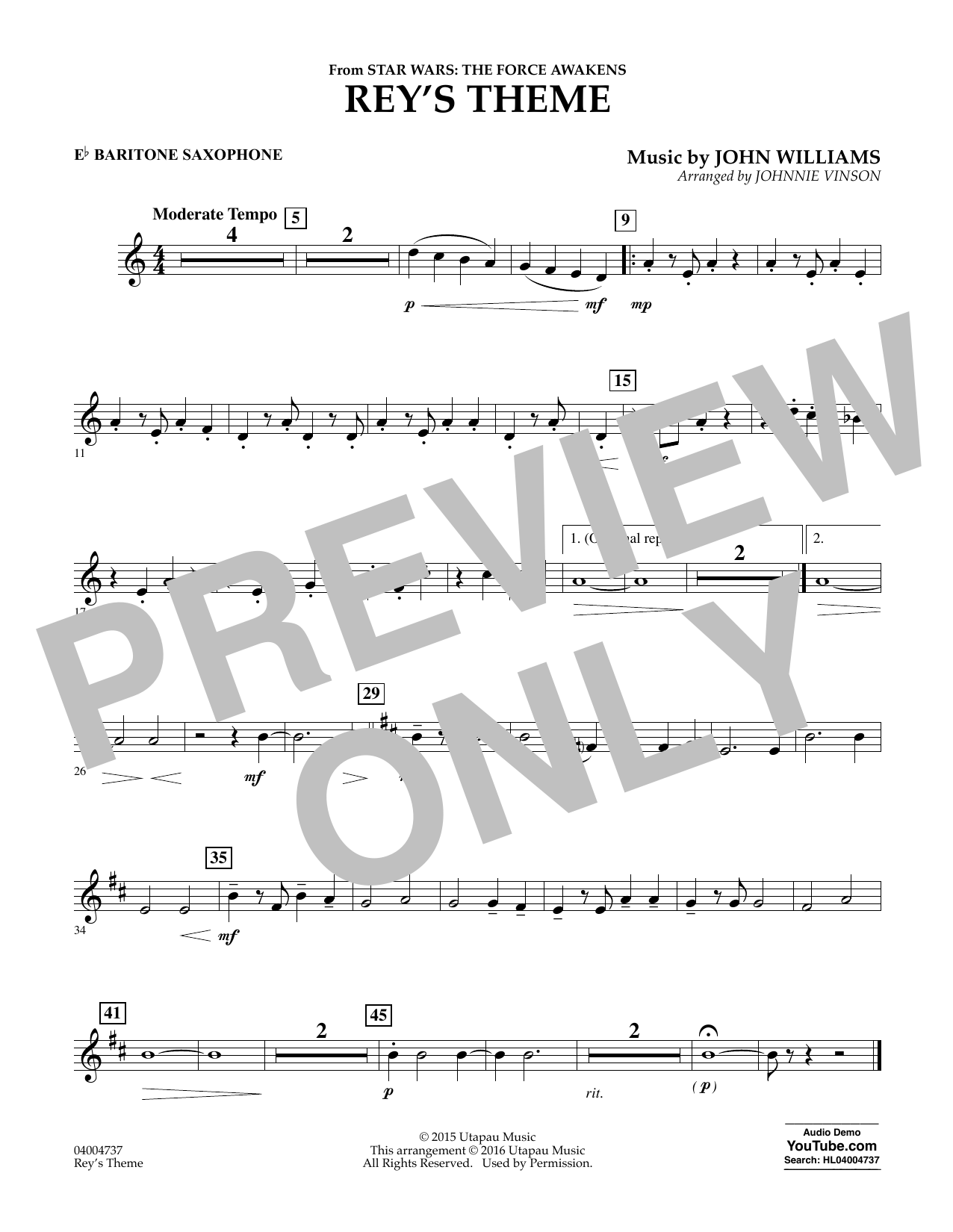 Rey's Theme (from Star Wars: The Force Awakens) - Eb Baritone Saxophone (Concert Band)
