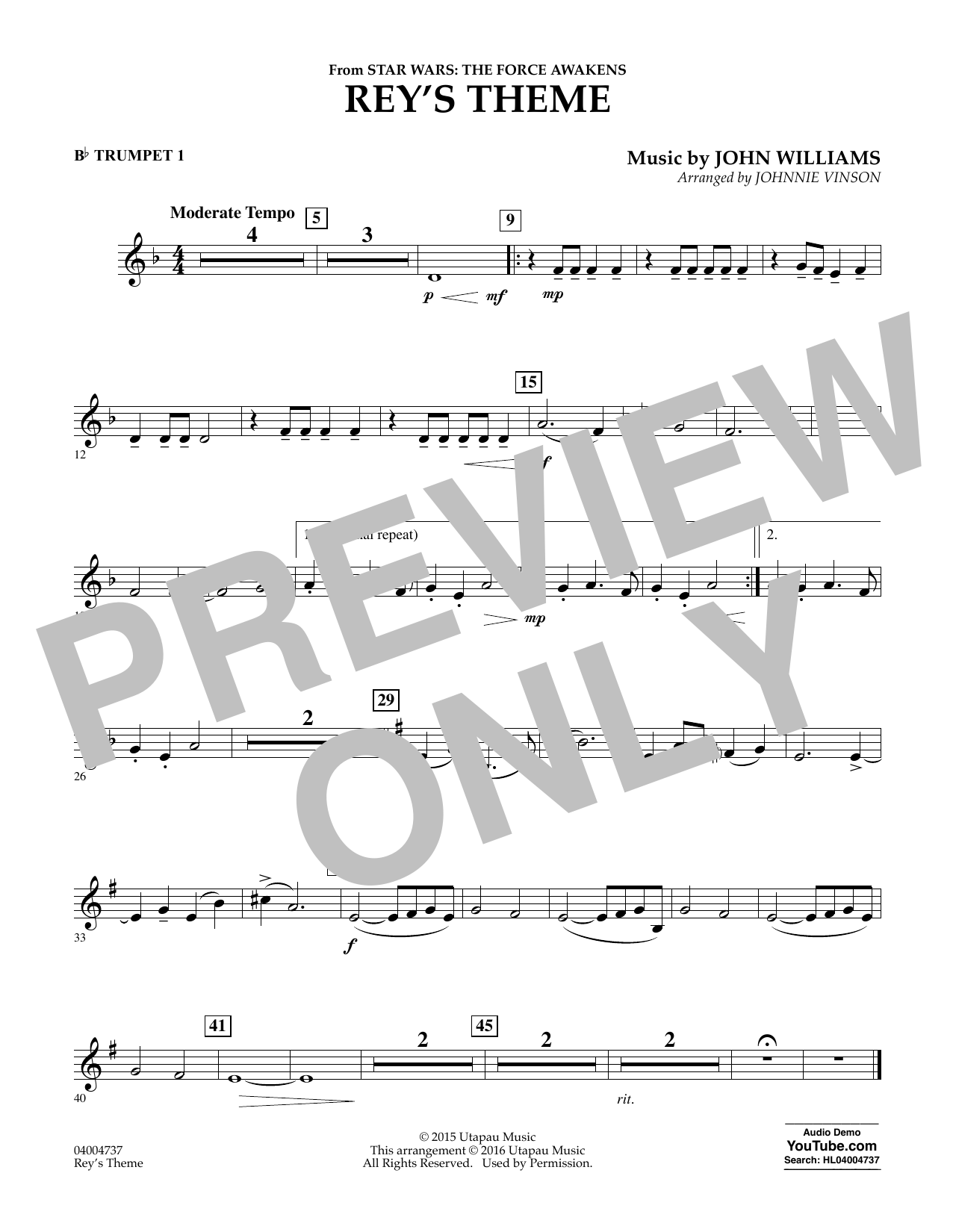 Rey's Theme (from Star Wars: The Force Awakens) - Bb Trumpet 1 (Concert Band)