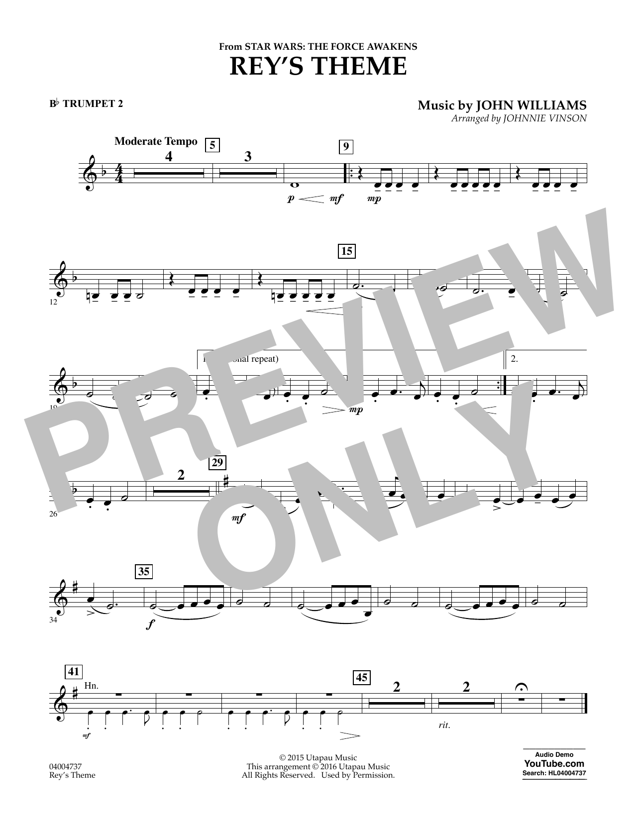 Rey's Theme (from Star Wars: The Force Awakens) - Bb Trumpet 2 (Concert Band)