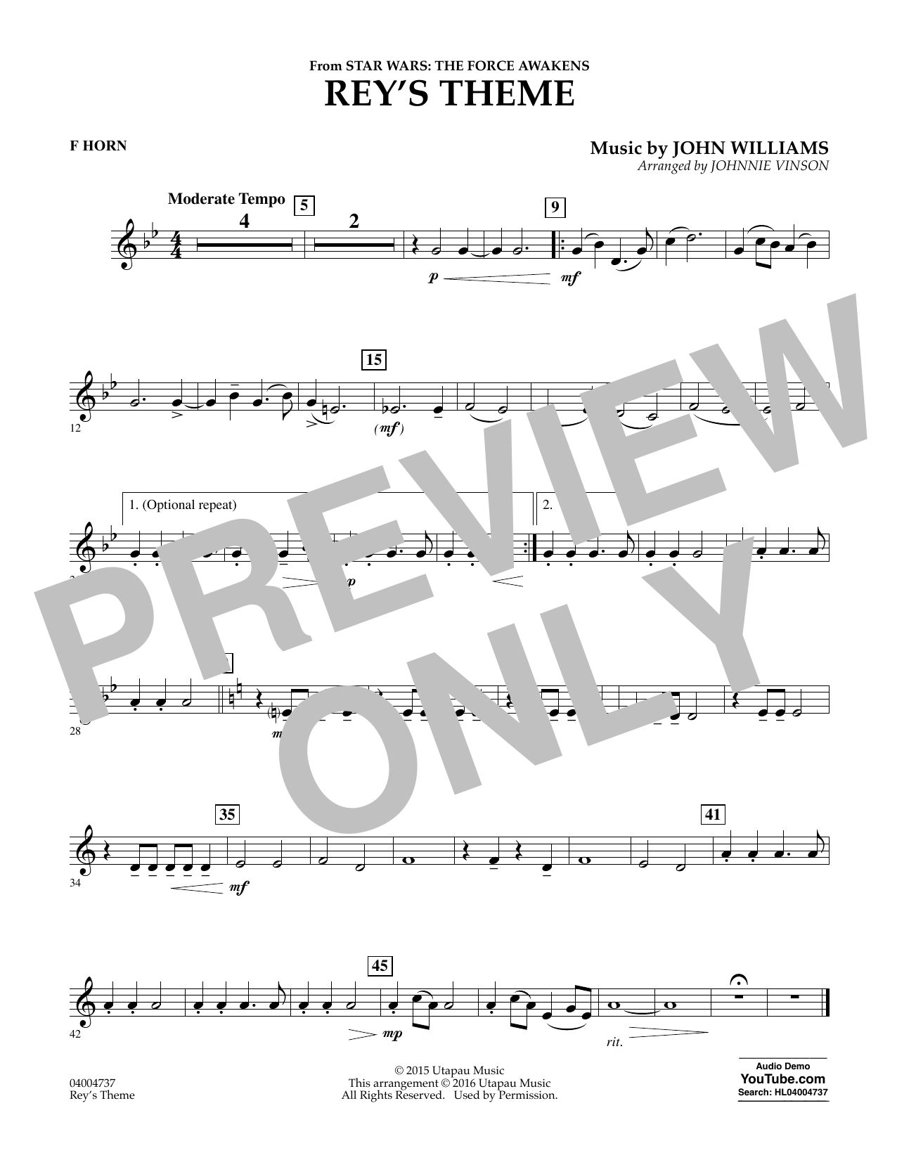 Rey's Theme (from Star Wars: The Force Awakens) - F Horn (Concert Band)