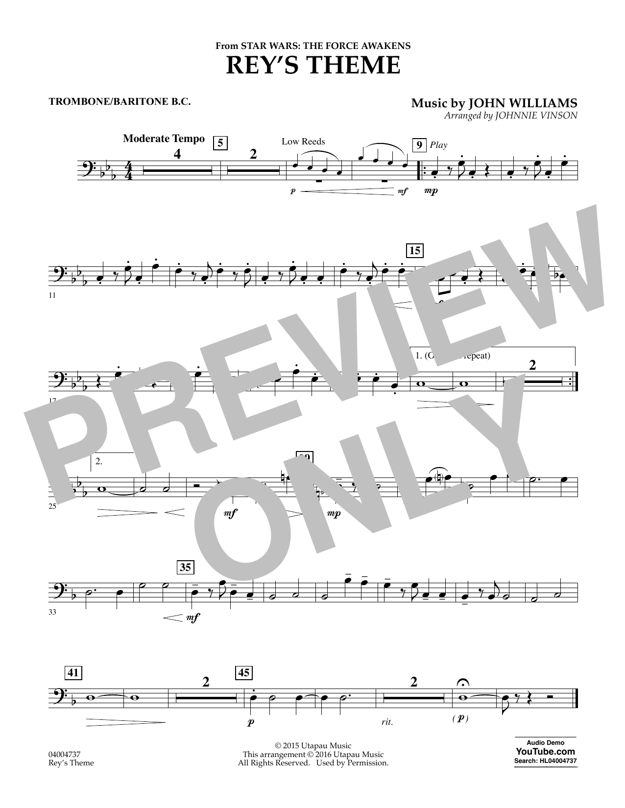 Rey's Theme (from Star Wars: The Force Awakens) - Trombone/Baritone B.C. (Concert Band)
