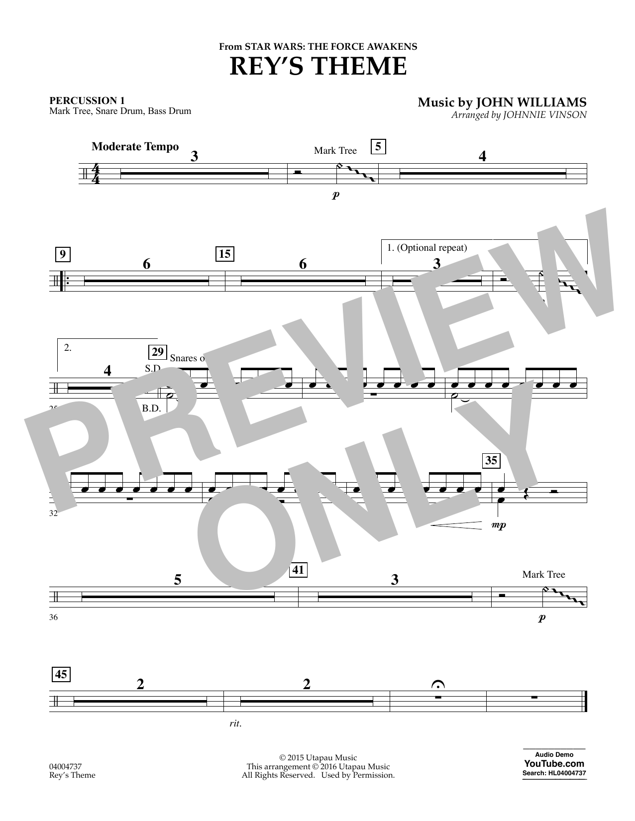 Rey's Theme (from Star Wars: The Force Awakens) - Percussion 1 (Concert Band)