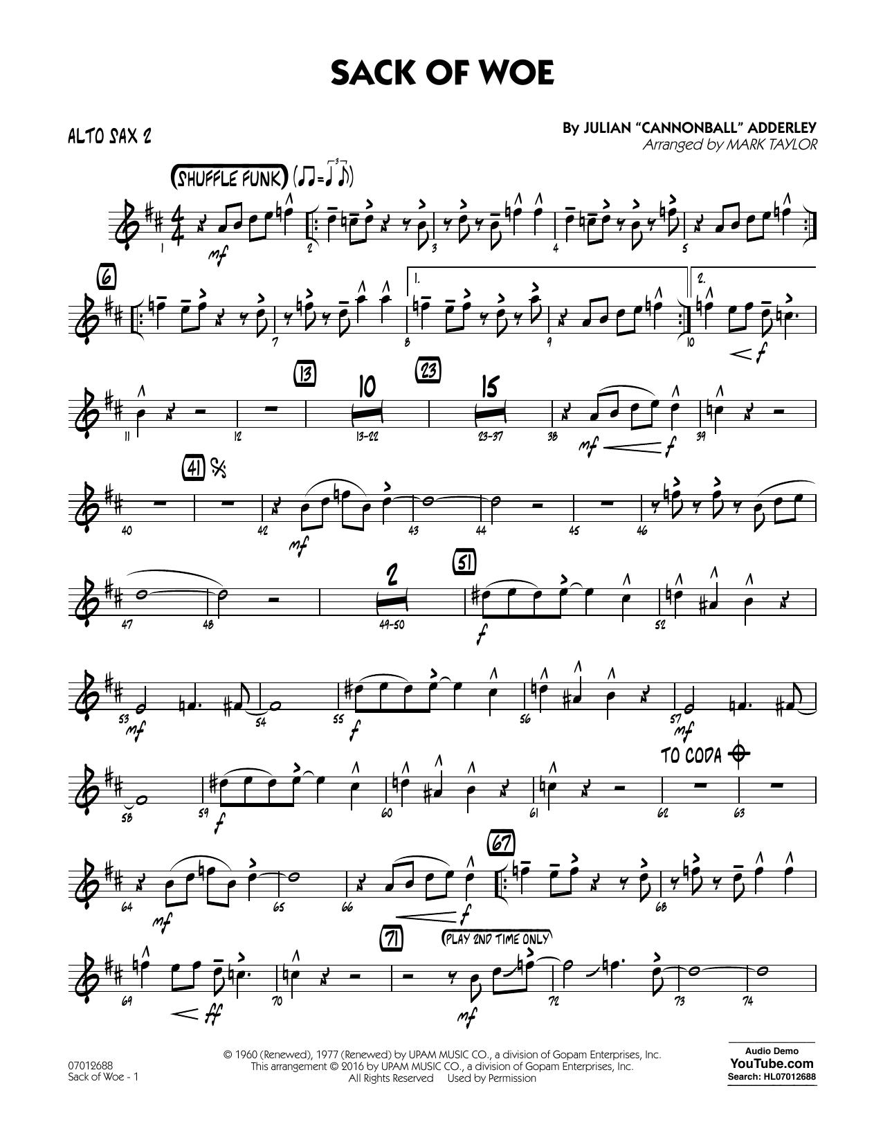 Sack of Woe - Alto Sax 2 (Jazz Ensemble)