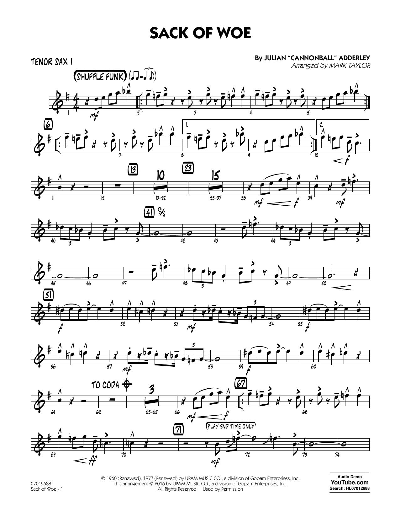 Sack of Woe - Tenor Sax 1 (Jazz Ensemble)