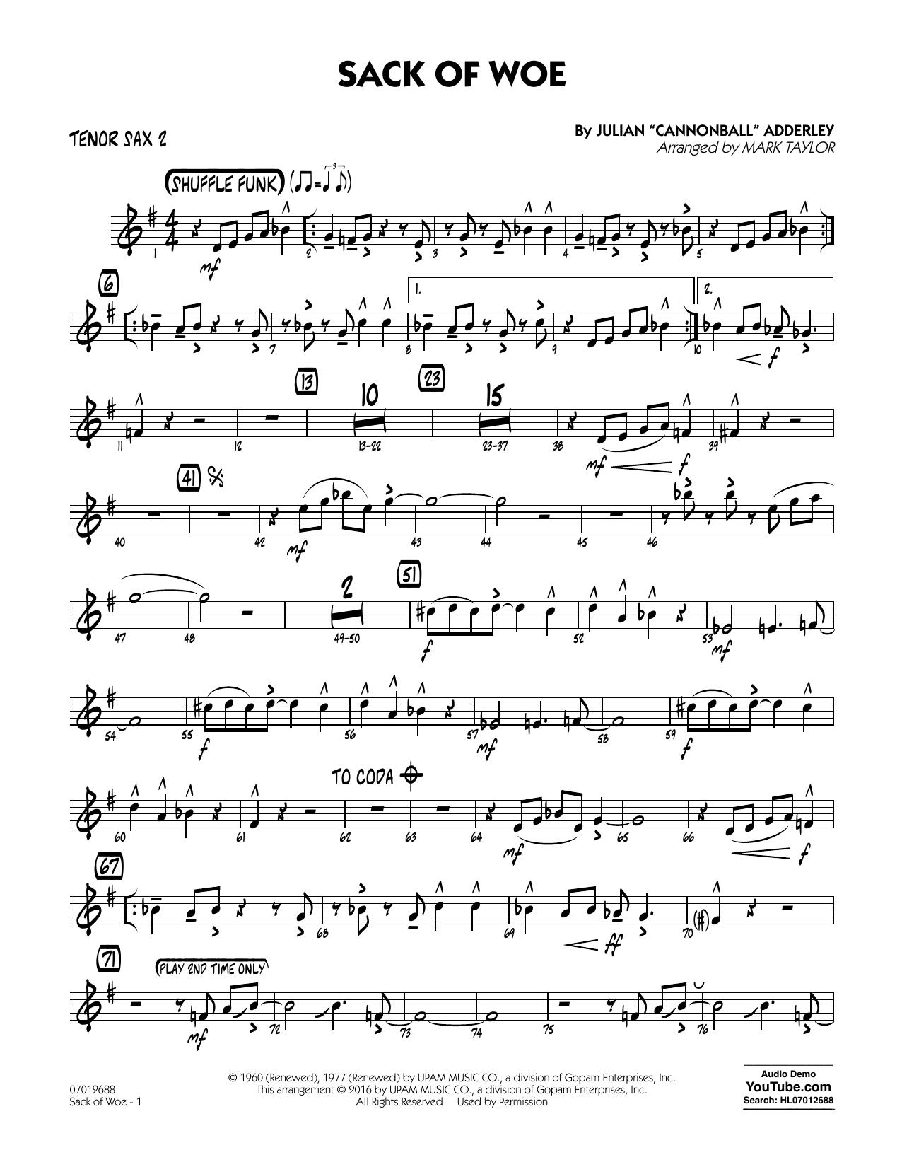 Sack of Woe - Tenor Sax 2 (Jazz Ensemble)
