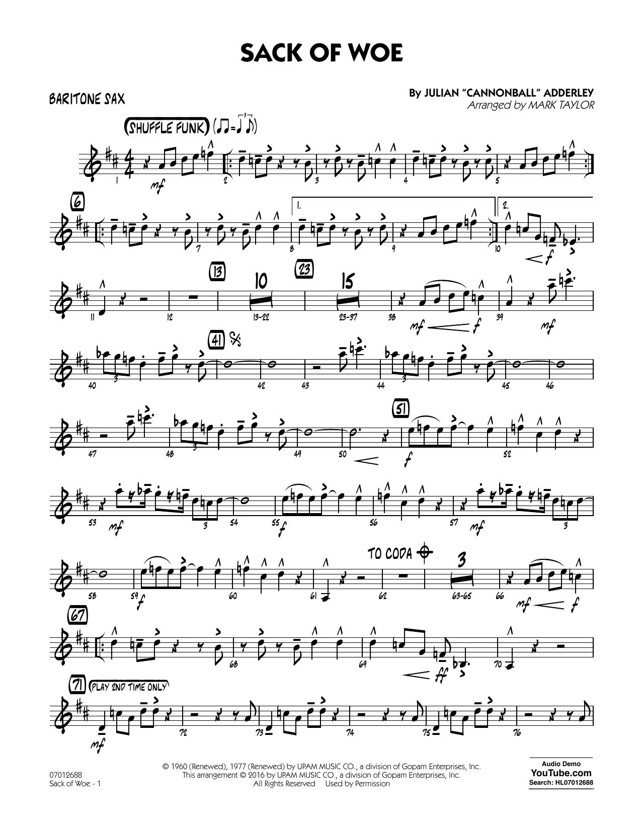 Sack of Woe - Baritone Sax (Jazz Ensemble)