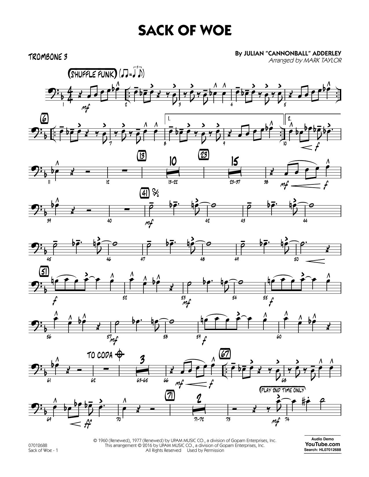 Sack of Woe - Trombone 3 (Jazz Ensemble)