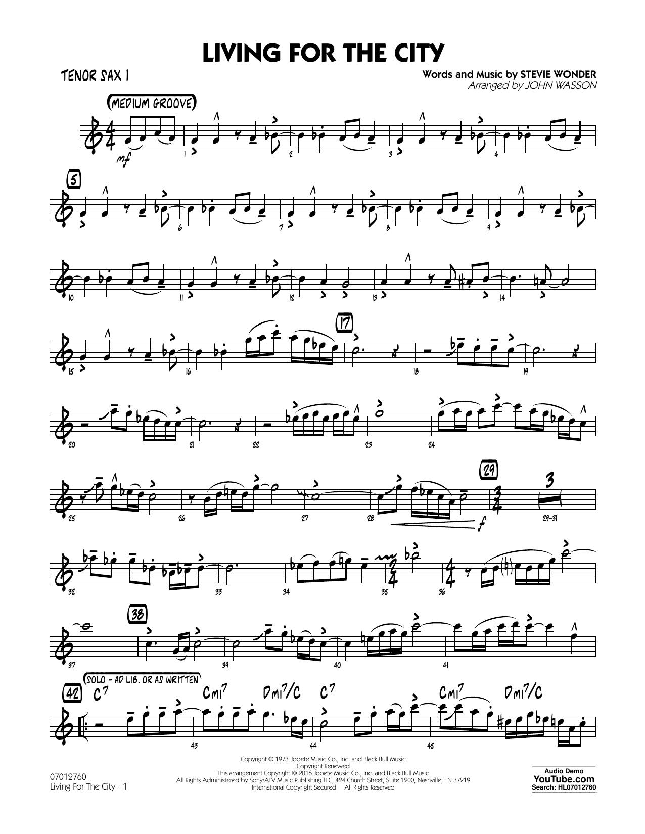 Living for the City - Tenor Sax 1 (Jazz Ensemble)