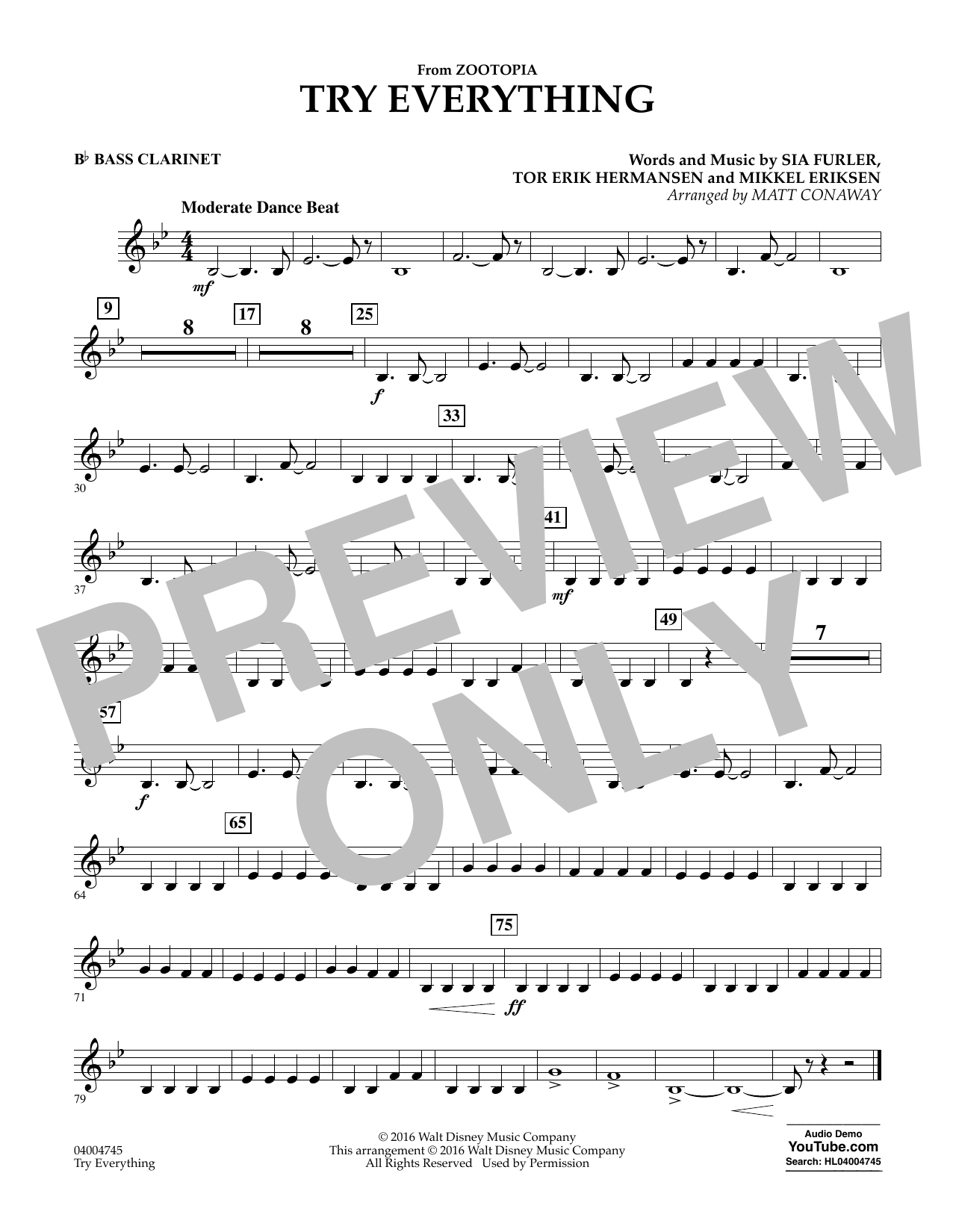 Try Everything (from Zootopia) - Bb Bass Clarinet (Concert Band)