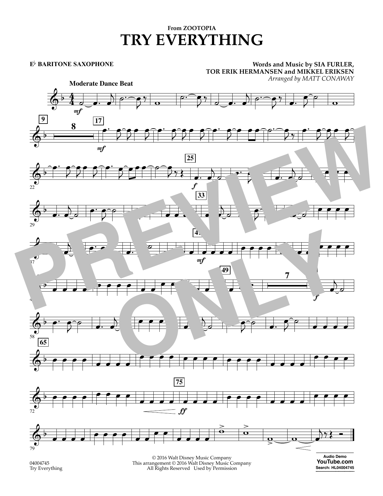 Try Everything (from Zootopia) - Eb Baritone Saxophone (Concert Band)