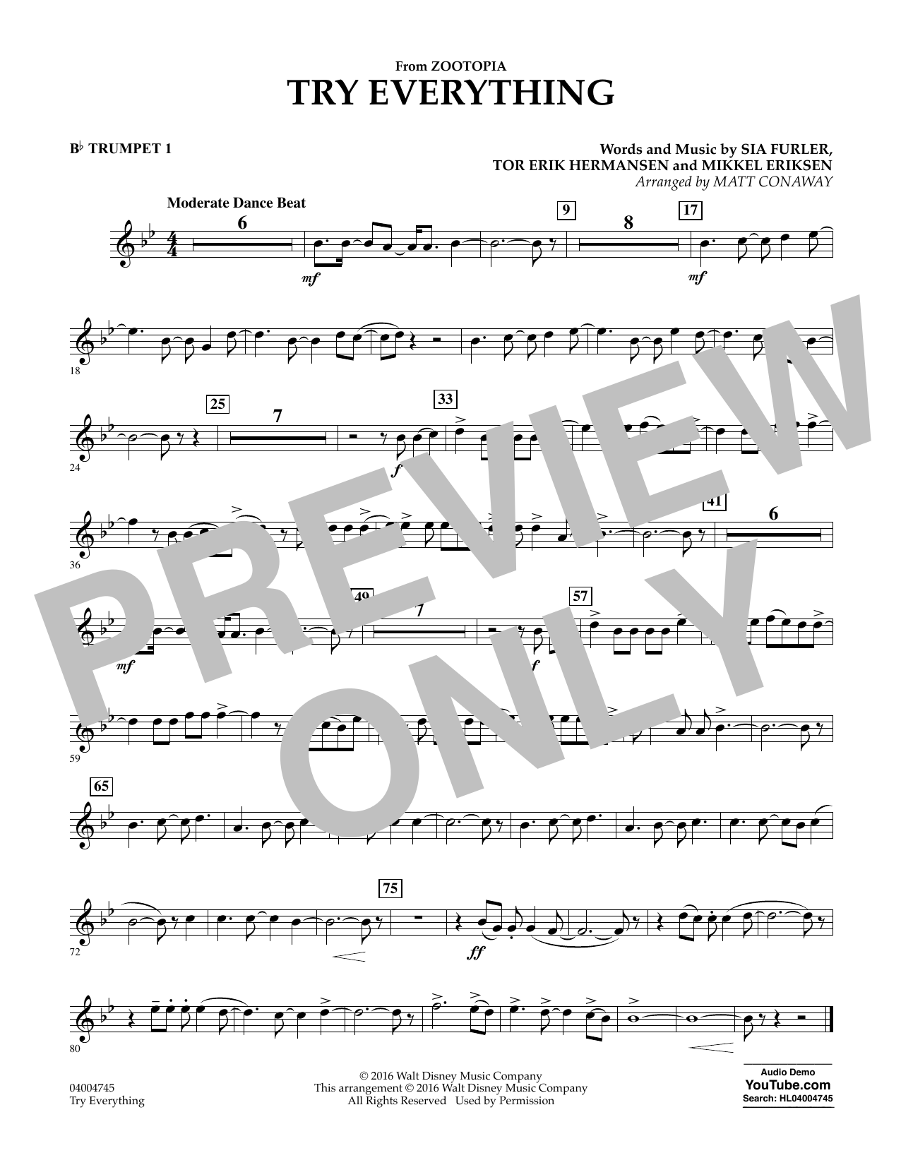 Try Everything (from Zootopia) - Bb Trumpet 1 (Concert Band)