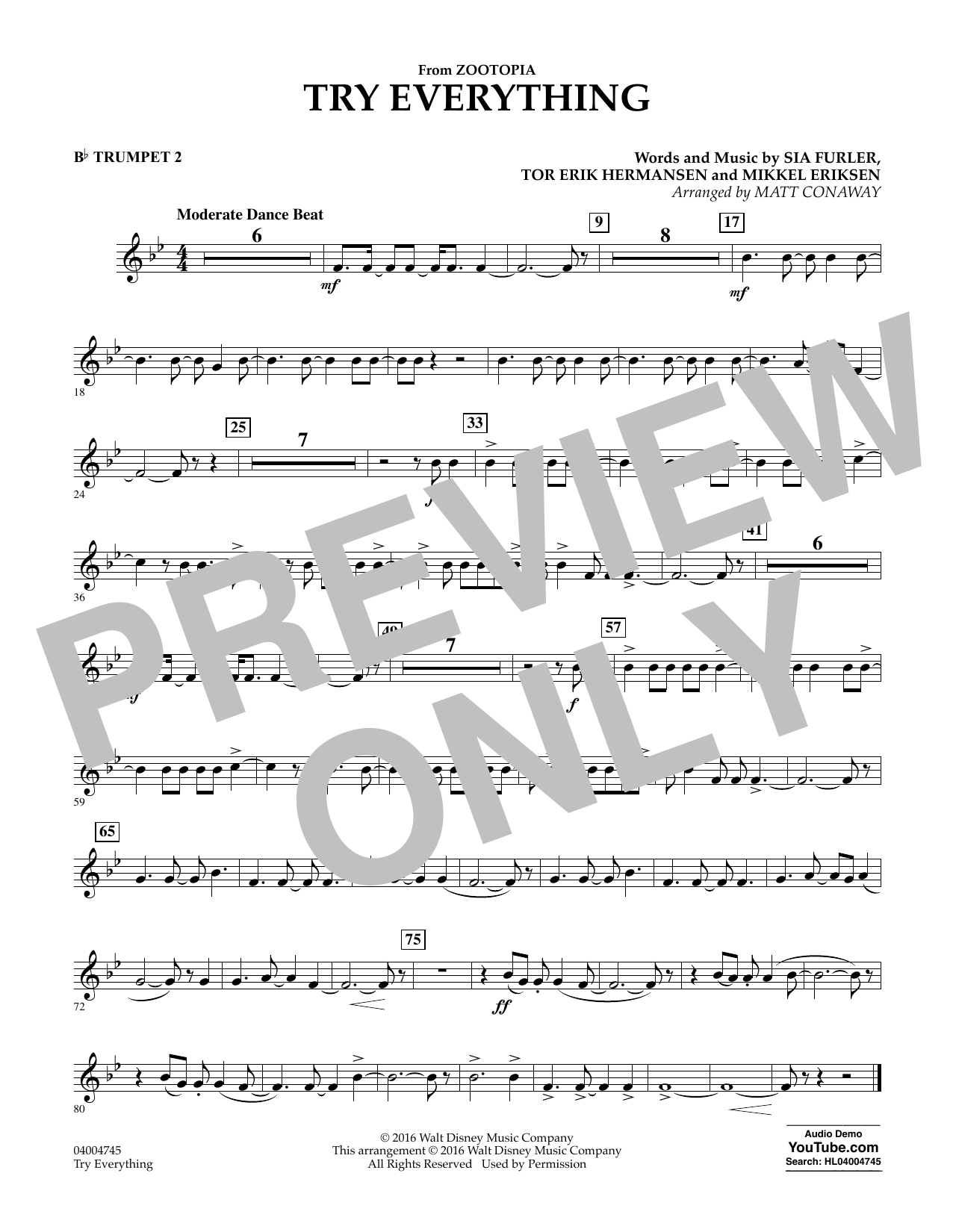 Try Everything (from Zootopia) - Bb Trumpet 2 (Concert Band)