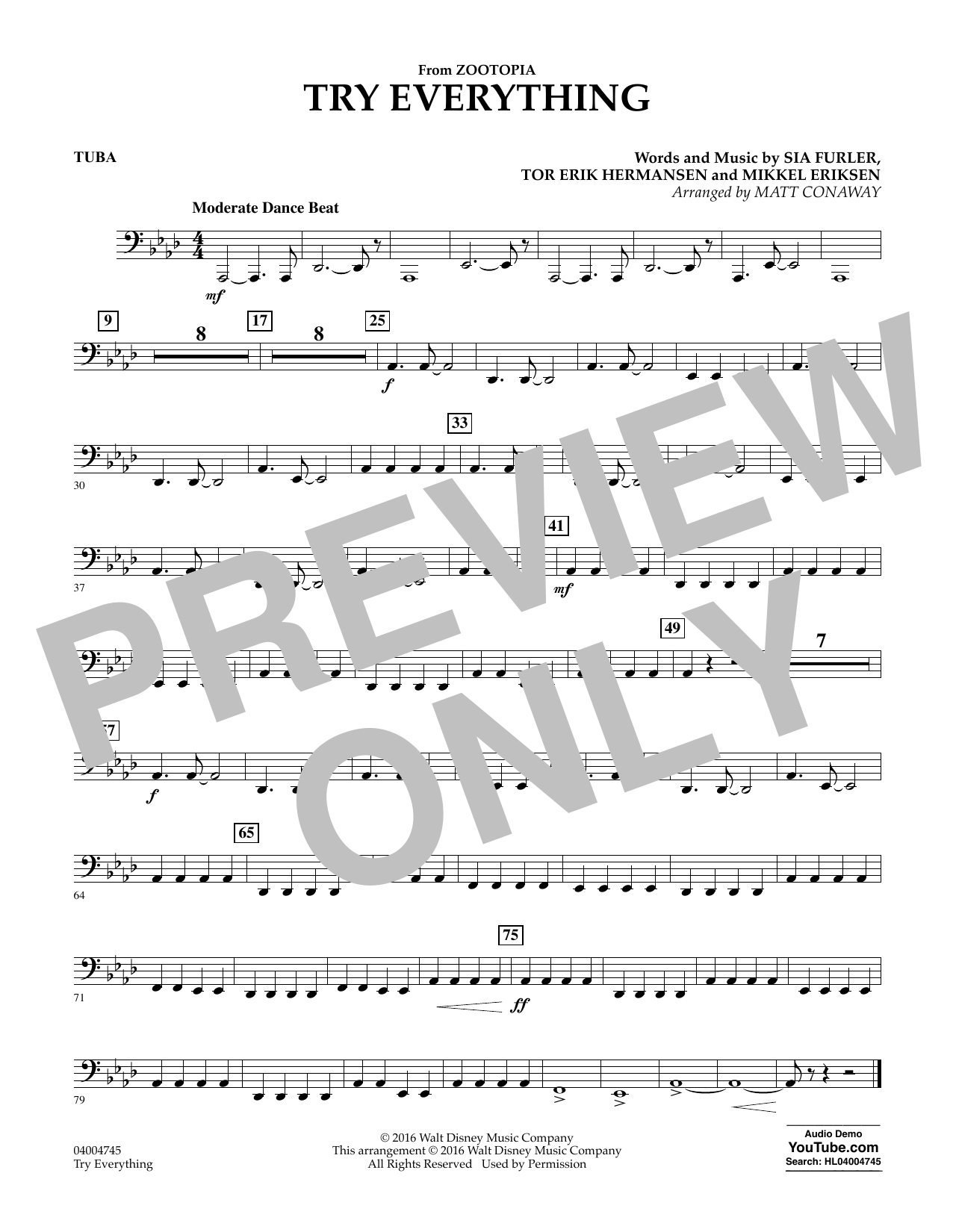 Try Everything (from Zootopia) - Tuba (Concert Band)