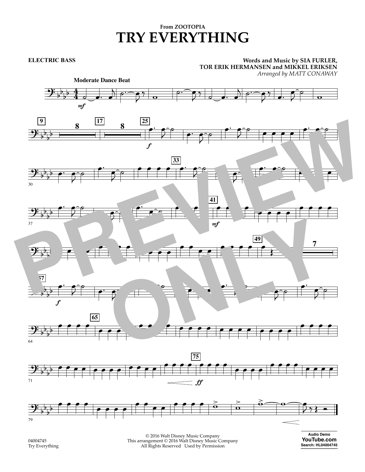 Try Everything (from Zootopia) - Electric Bass (Concert Band)