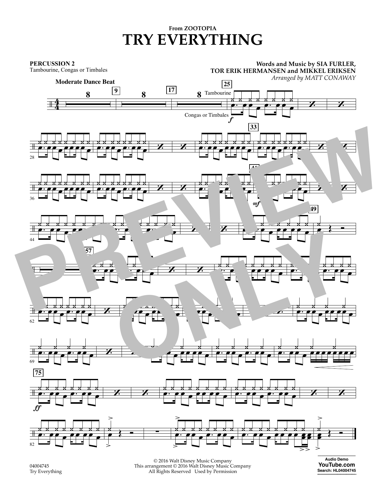 Try Everything (from Zootopia) - Percussion 2 (Concert Band)