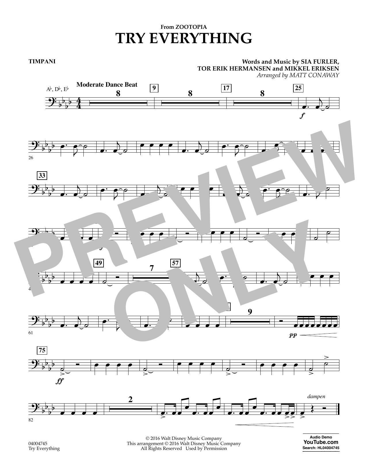 Try Everything (from Zootopia) - Timpani (Concert Band)