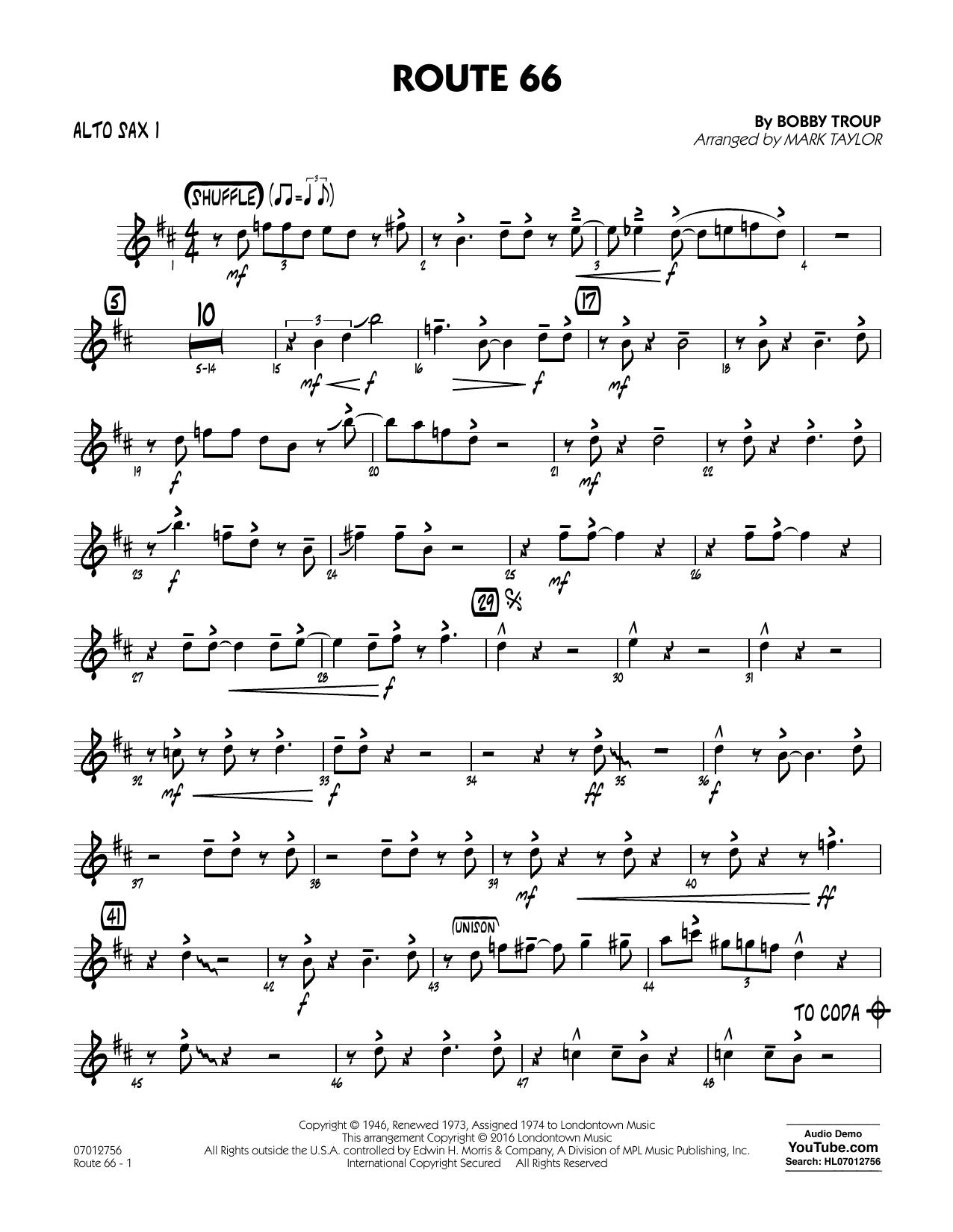 Route 66 (Key: F) - Alto Sax 1 (Jazz Ensemble)