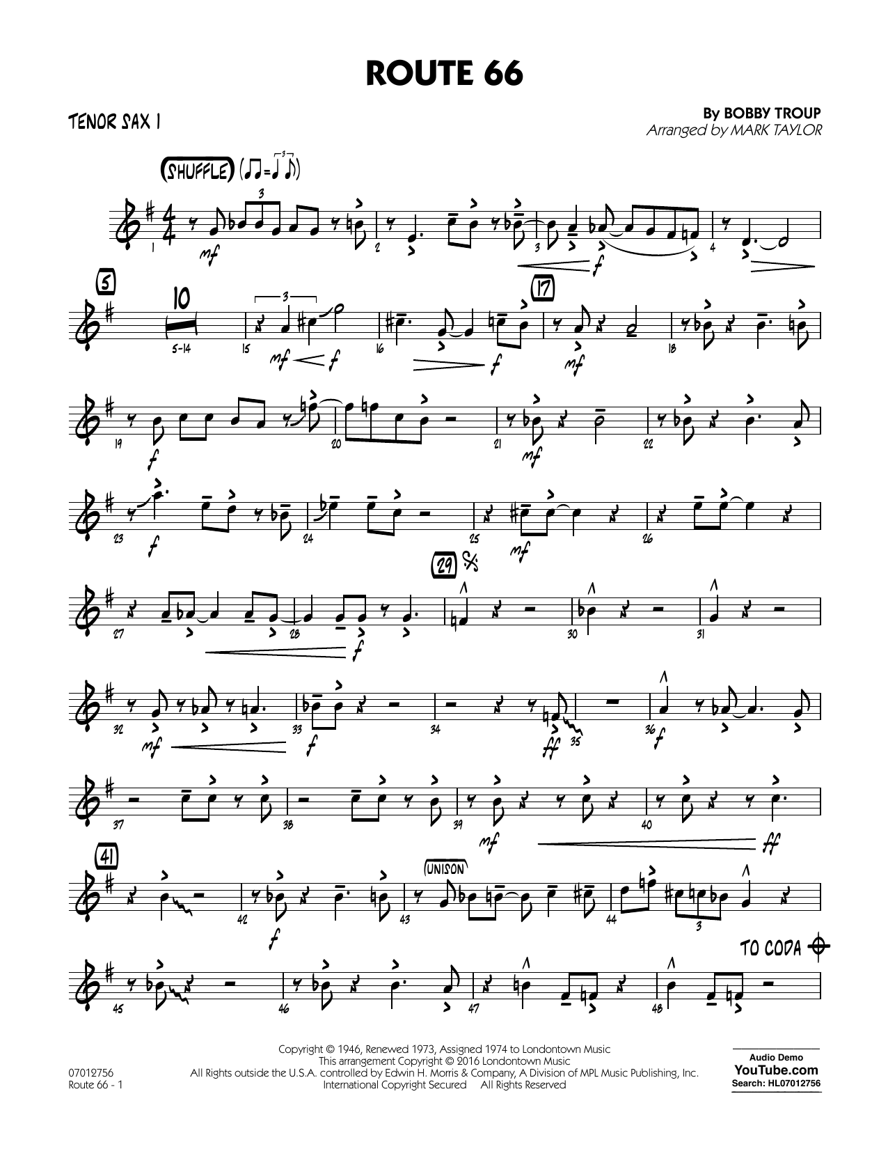 Route 66 (Key: F) - Tenor Sax 1 - Sheet Music to Download