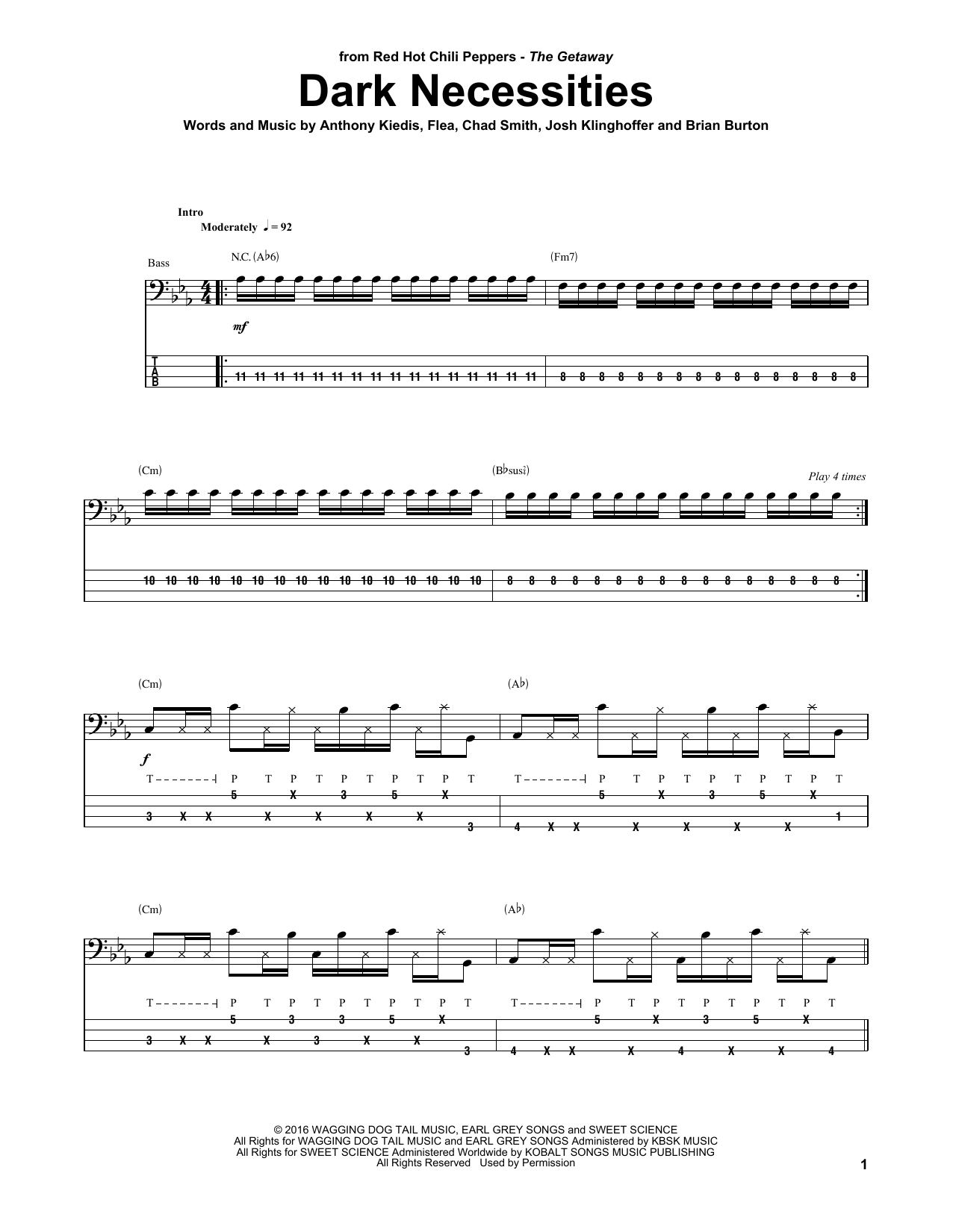 Dark Necessities Bass Guitar Tab By Red Hot Chili Peppers Bass