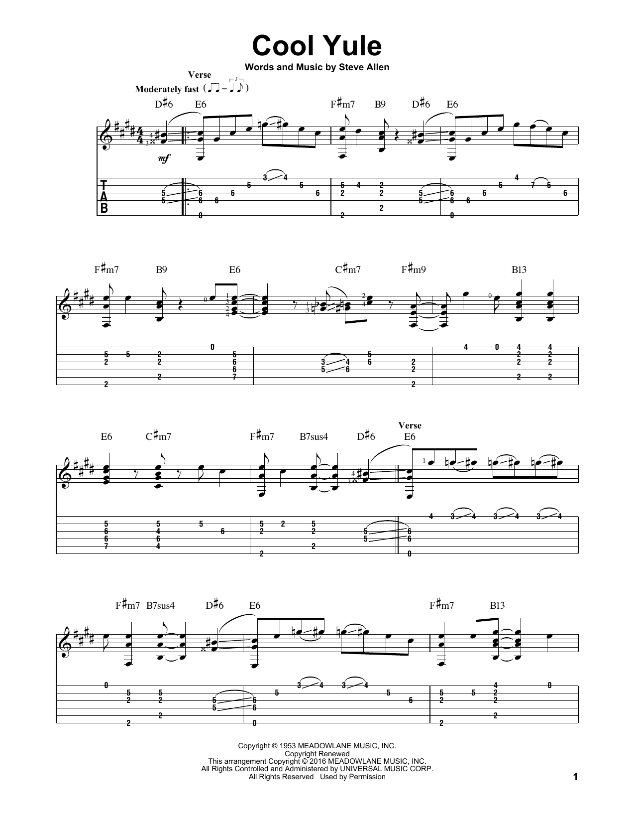 Tablature guitare Cool Yule de Louis Armstrong - Tablature Guitare
