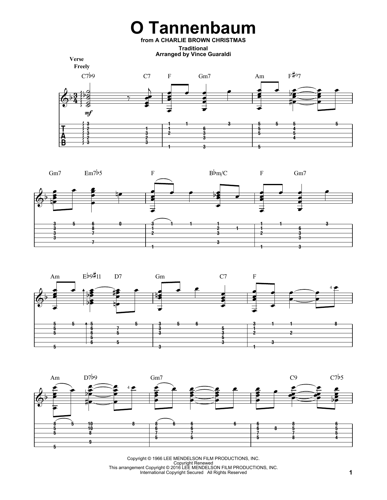 O Tannenbaum Text Deutsch.O Tannenbaum By Vince Guaraldi Trio Guitar Tab Digital Sheet Music