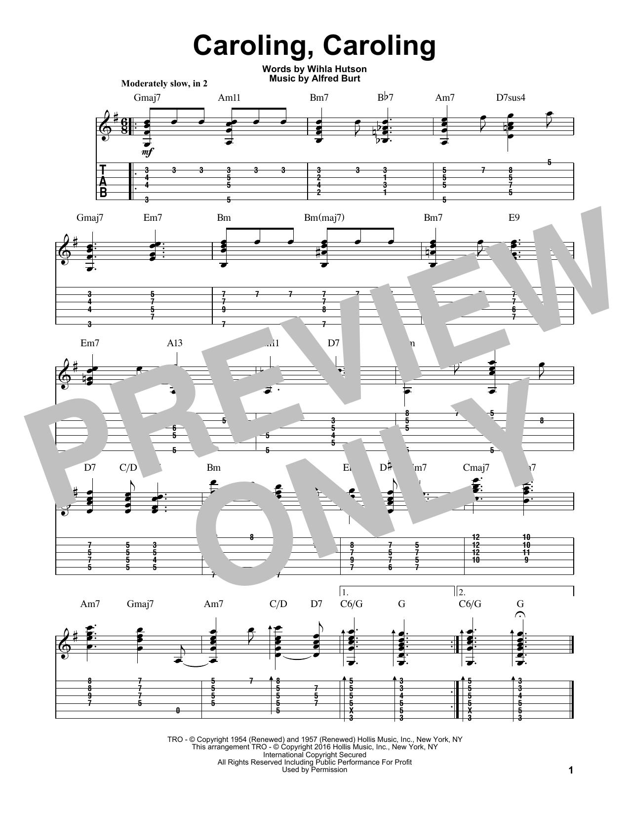 Tablature guitare Caroling, Caroling de Alfred Burt - Tablature Guitare