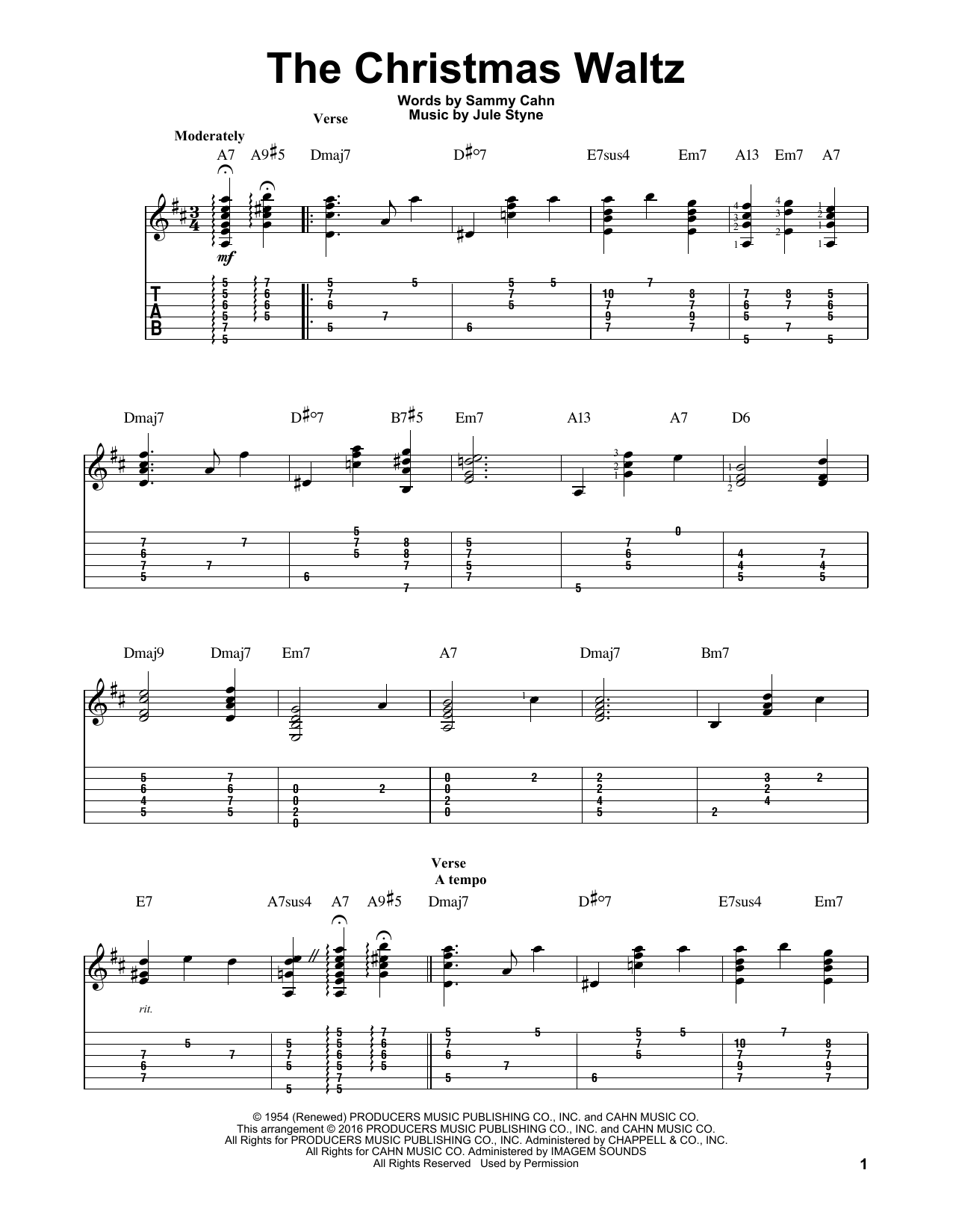 Tablature guitare The Christmas Waltz de Sammy Cahn - Tablature Guitare