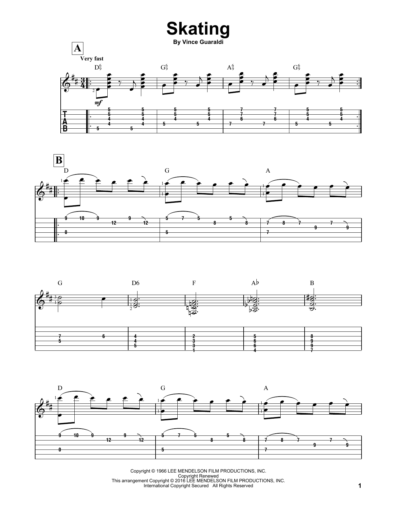 Skating Sheet Music