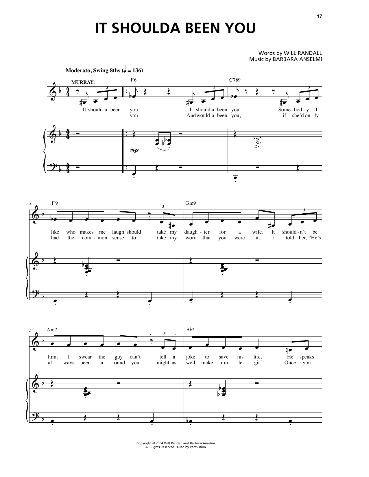 It Shoulda Been You Sheet Music