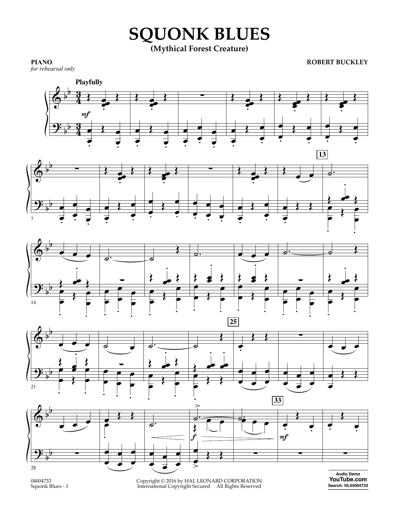 Squonk Blues - Piano - Sheet Music to Download