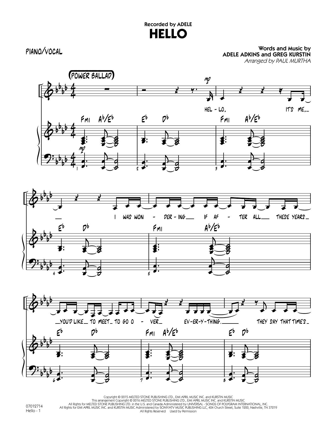 Hello - Piano/Vocal (Jazz Ensemble)