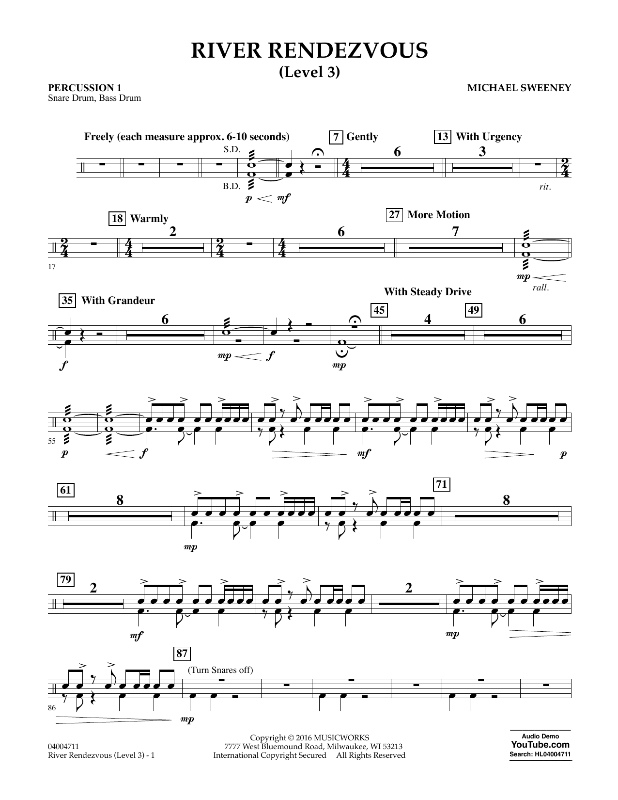 River Rendezvous - Percussion 1 (Level 3) (Concert Band)