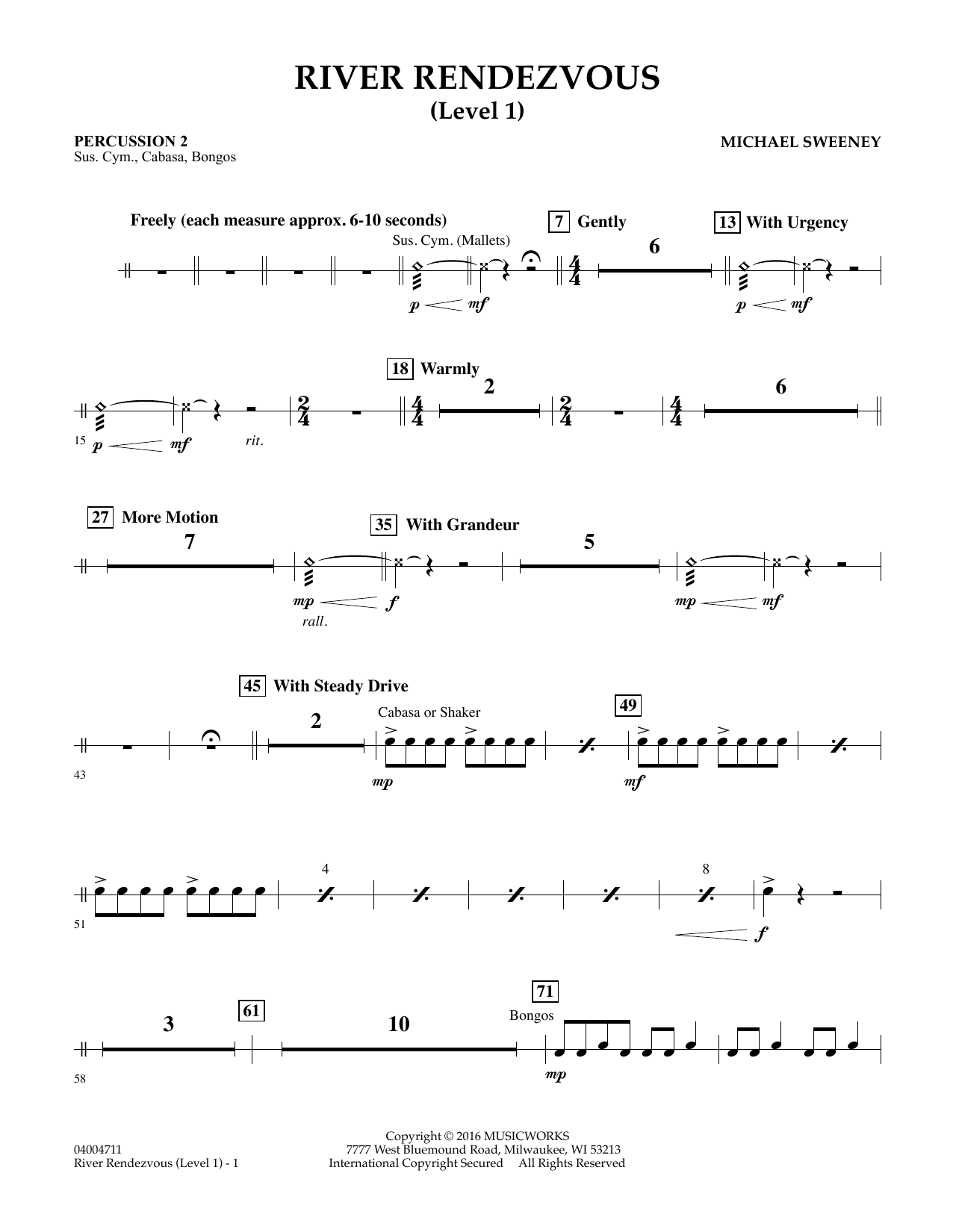 River Rendezvous - Percussion 2 (Level 1) (Concert Band)