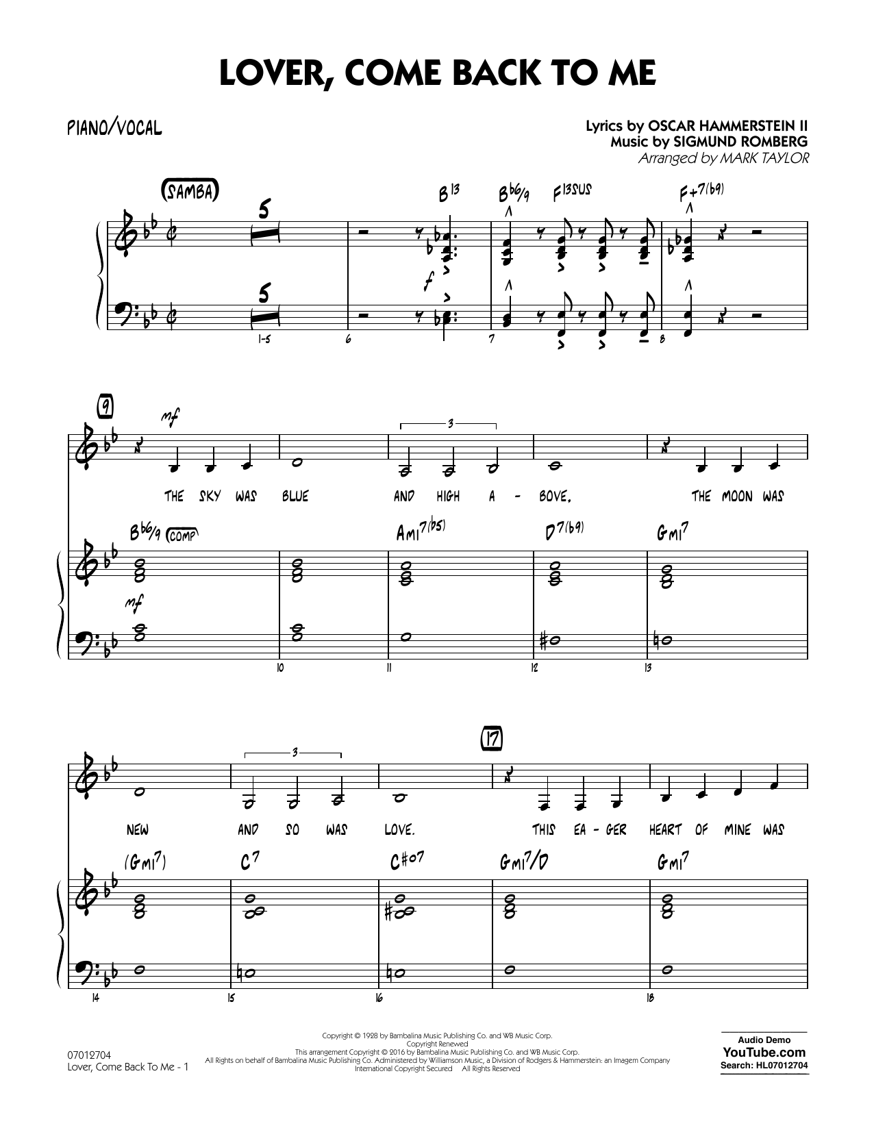 Lover Come Back to Me (Key: B-Flat) - Piano/Vocal (Jazz Ensemble)